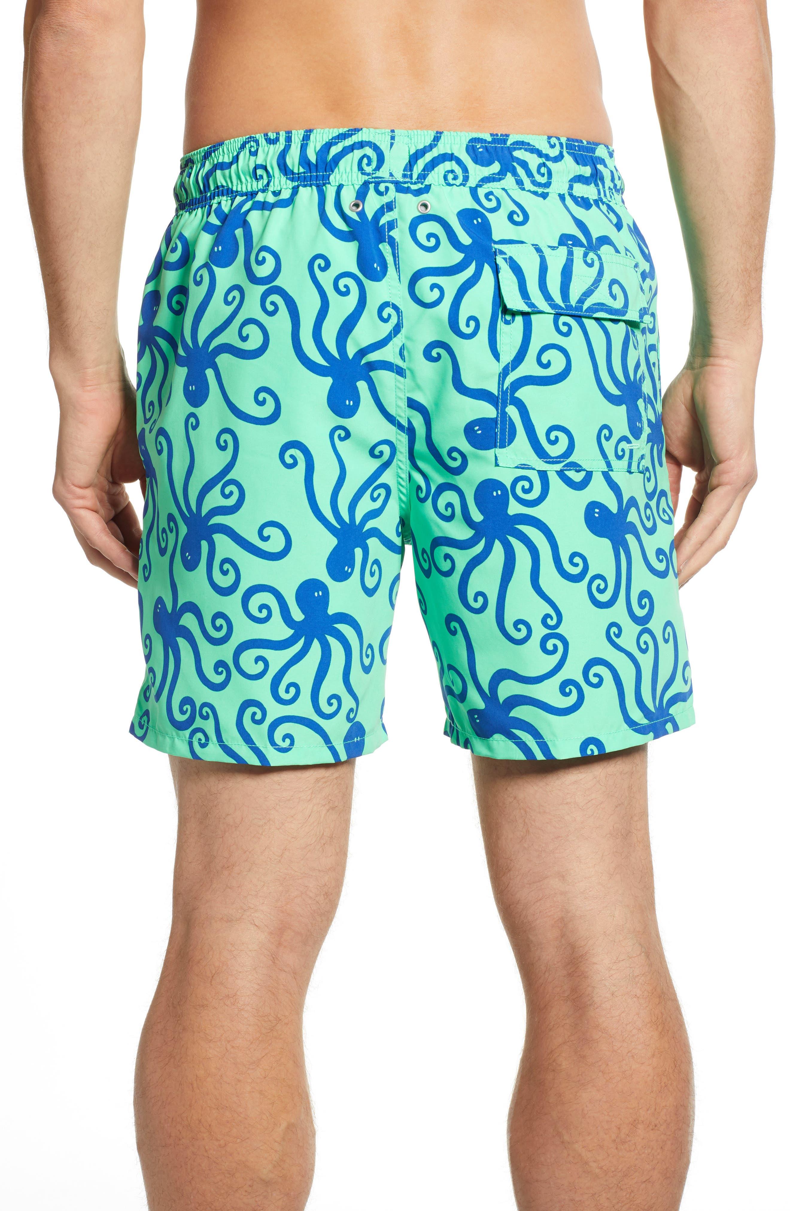TOM & TEDDY, 'Octopus Pattern' Swim Trunks, Alternate thumbnail 2, color, GREEN/ BLUE