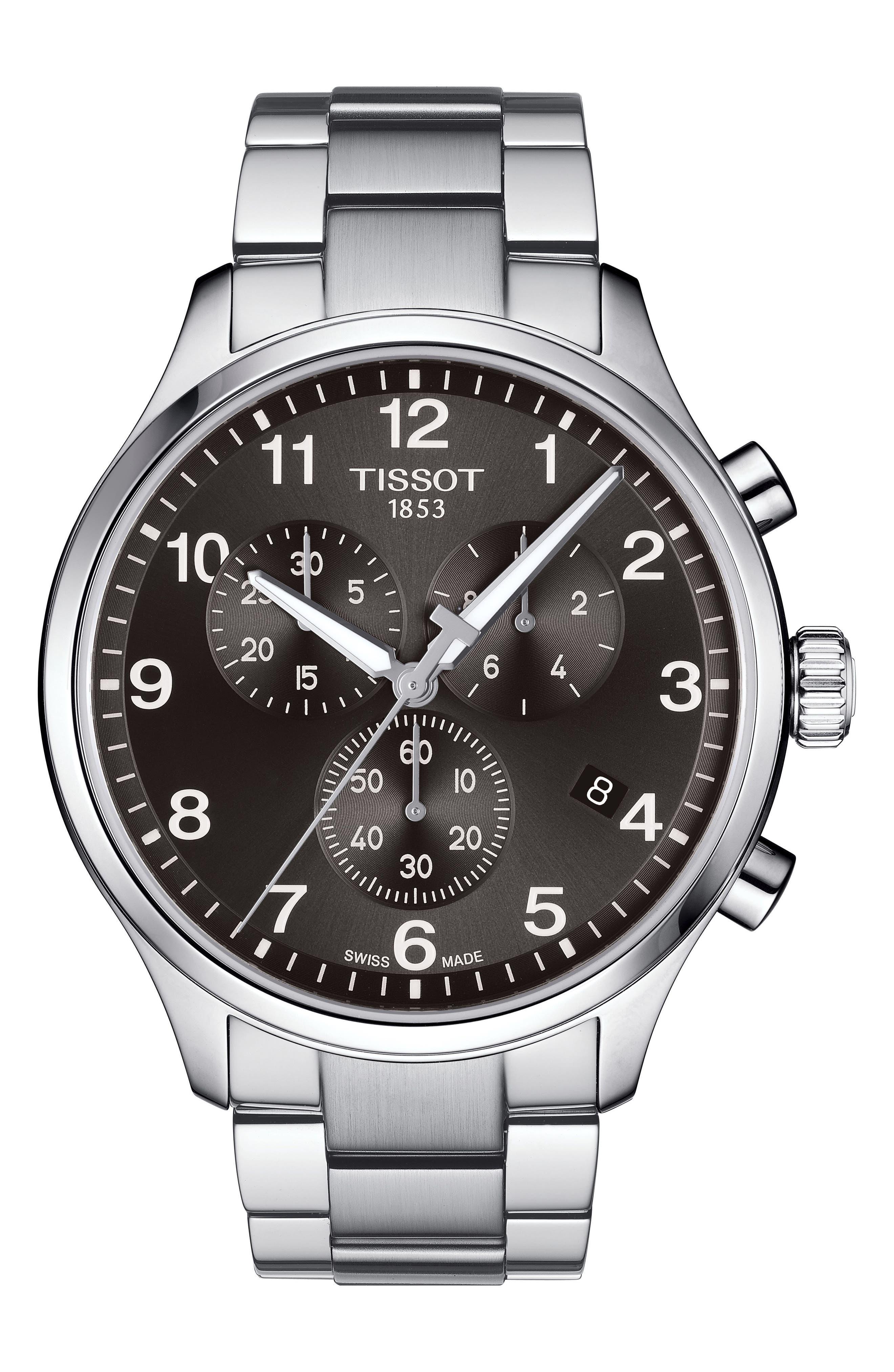 TISSOT, Chrono XL Collection Chronograph Bracelet Watch, 45mm, Main thumbnail 1, color, SILVER/ BLACK/ SILVER