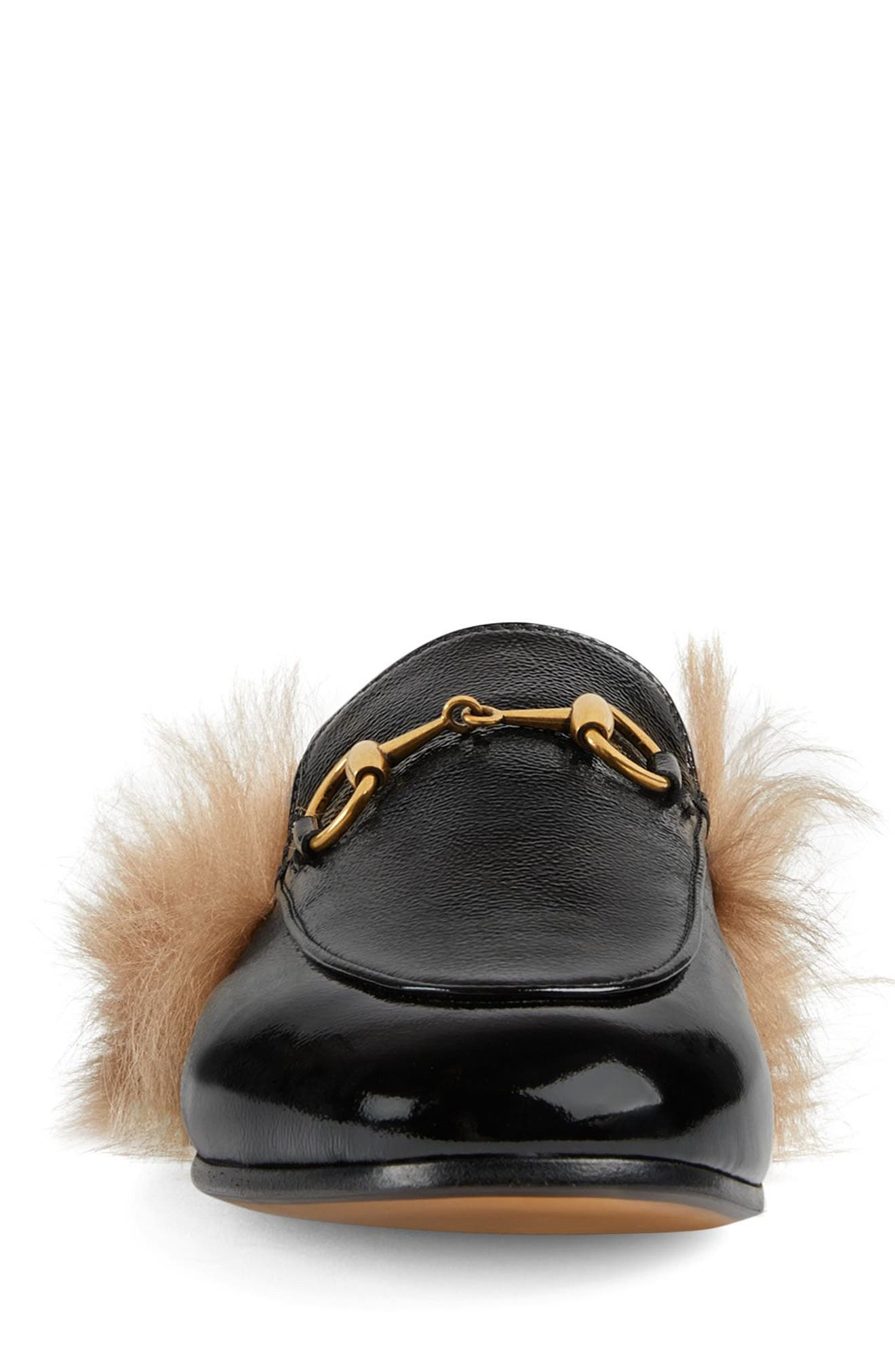 GUCCI, Princetown Genuine Shearling Loafer Mule, Alternate thumbnail 3, color, BLACK PATENT