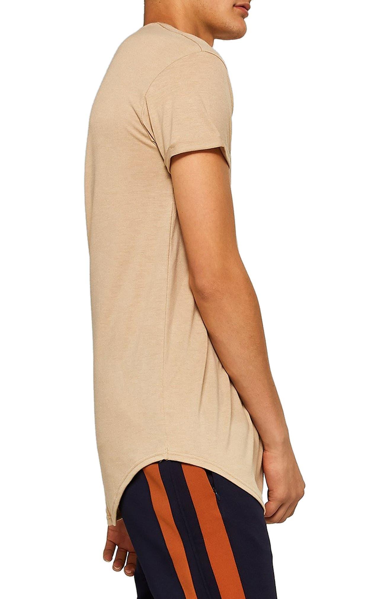 TOPMAN, Scotty Longline T-Shirt, Alternate thumbnail 3, color, STONE