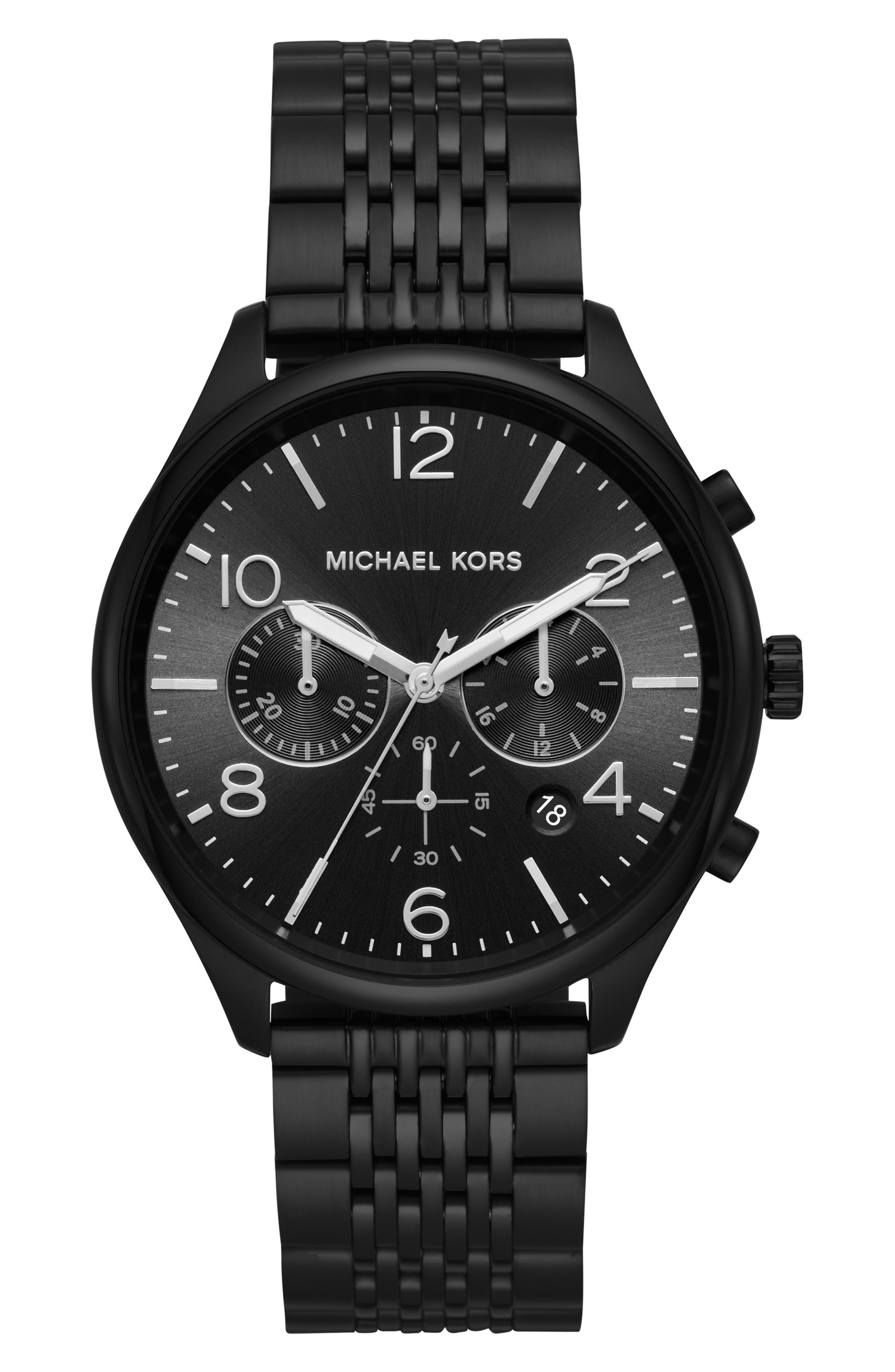 MICHAEL KORS, Merrick Bracelet Watch, 42mm, Main thumbnail 1, color, BLACK