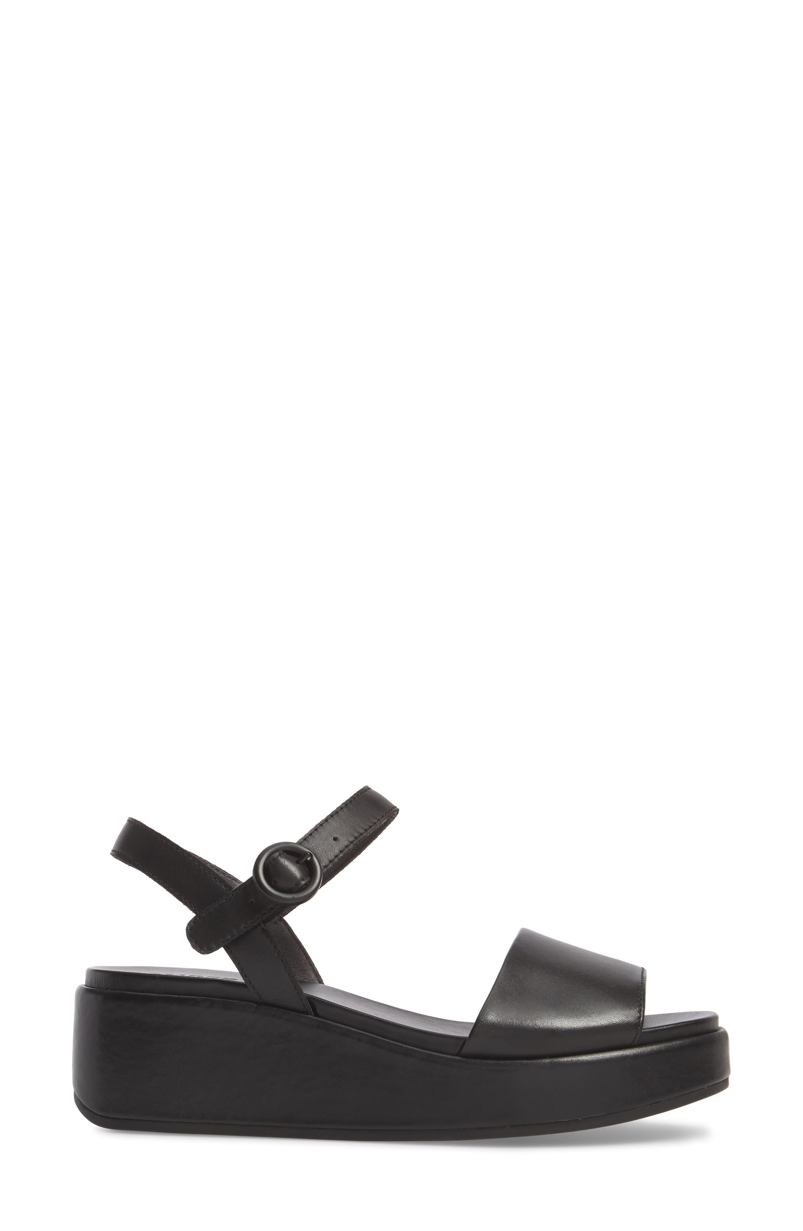 CAMPER, Misia Platform Wedge Sandal, Alternate thumbnail 3, color, BLACK LEATHER