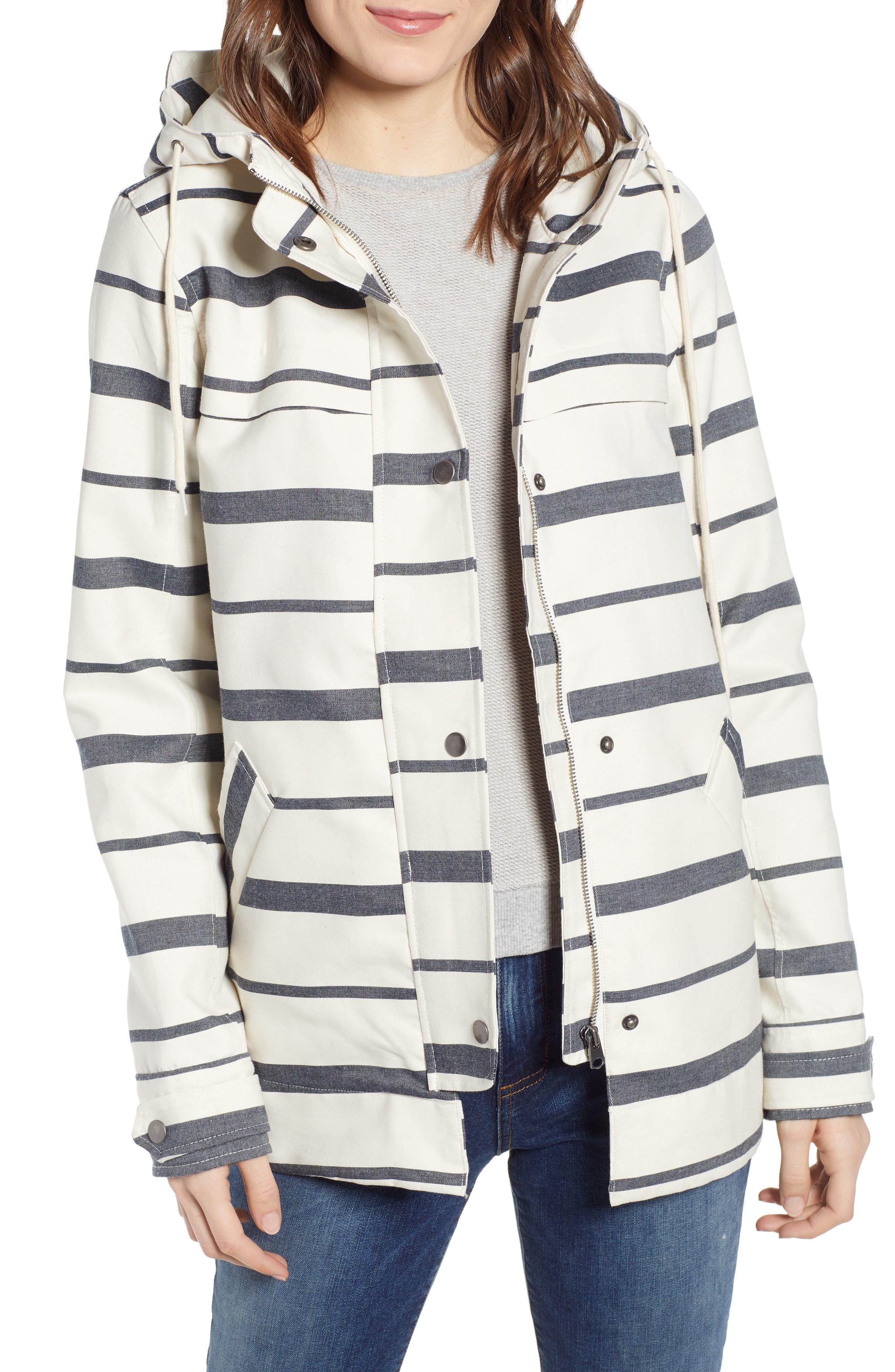 THREAD & SUPPLY Portside Rain Jacket, Main, color, BLACK WHITE STRIPE