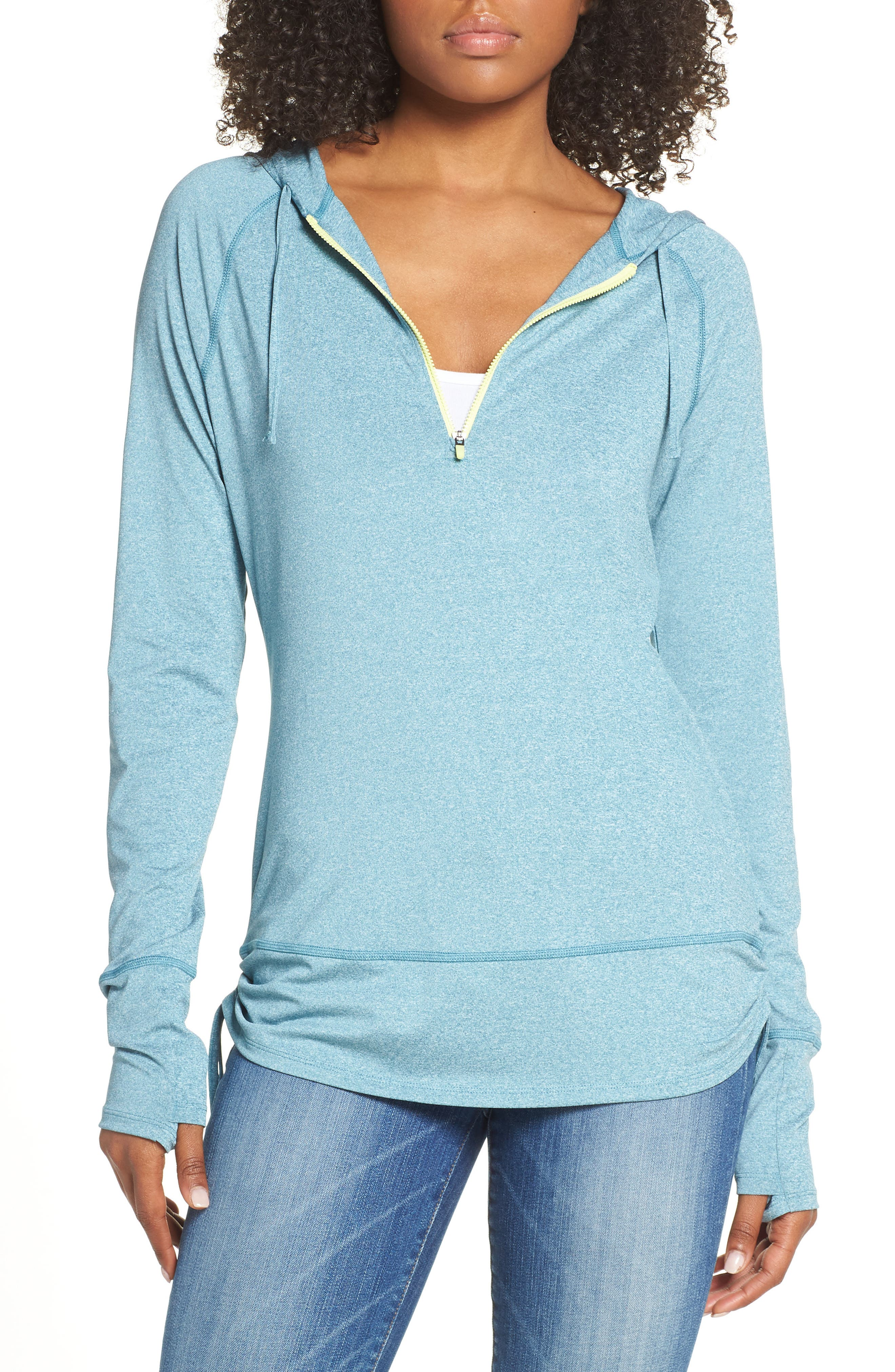 THE NORTH FACE, Shade Me Quarter Zip Hoodie, Main thumbnail 1, color, STORM BLUE HEATHER