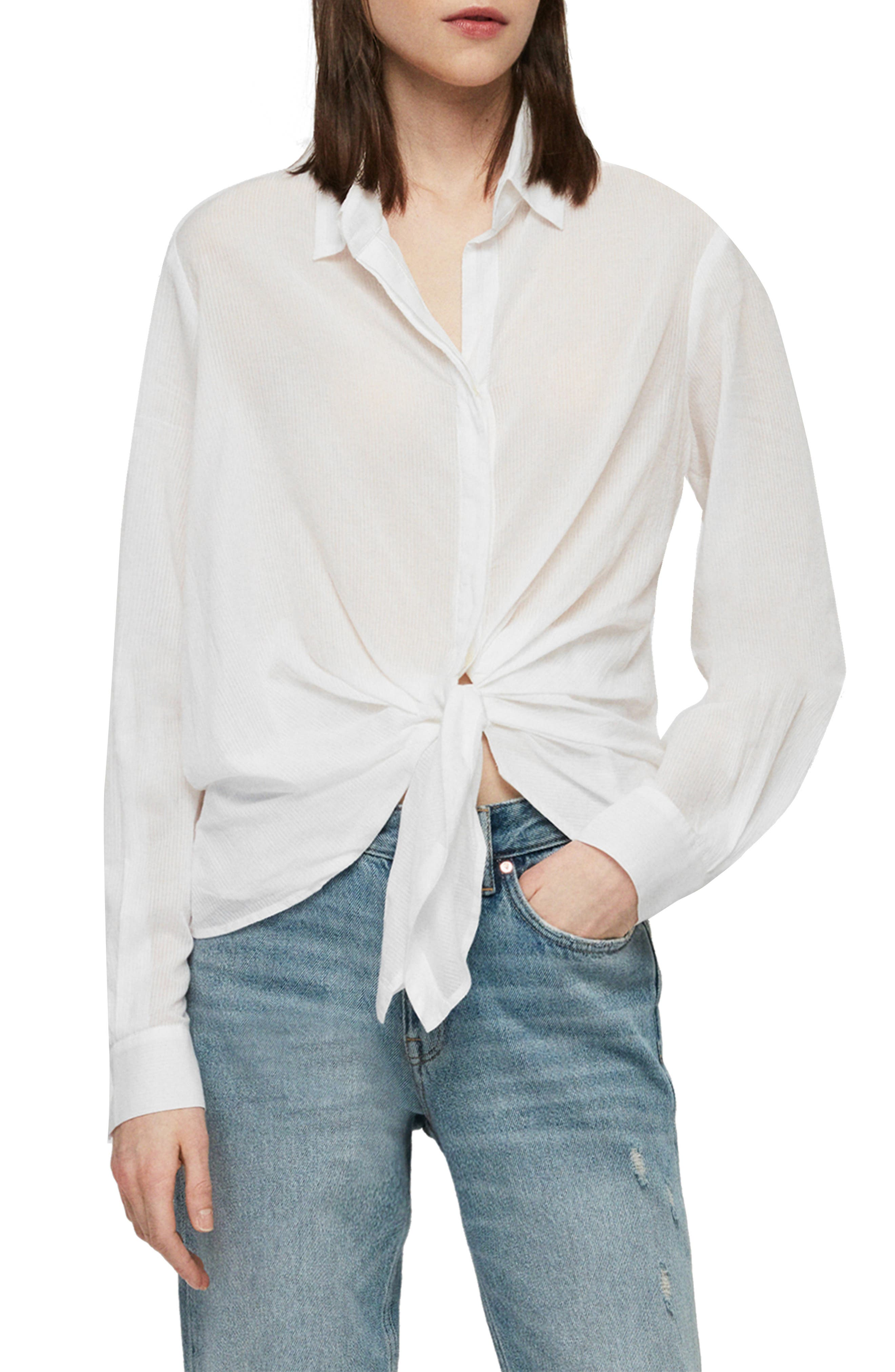 ALLSAINTS, Sirena Front Tie Shirt, Main thumbnail 1, color, CHALK WHITE