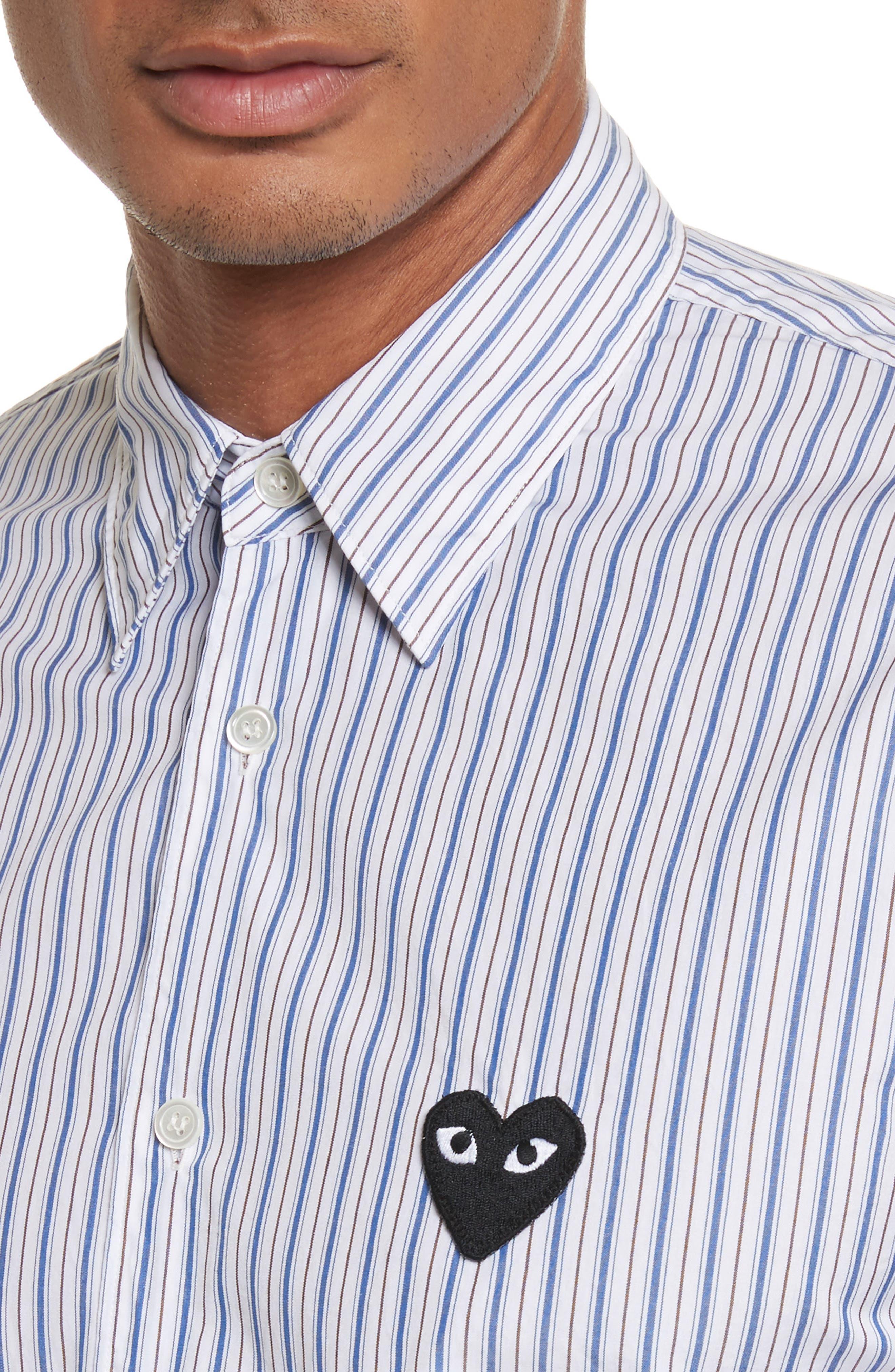 COMME DES GARÇONS PLAY, Black Heart Stripe Oxford Shirt, Alternate thumbnail 5, color, BLUE