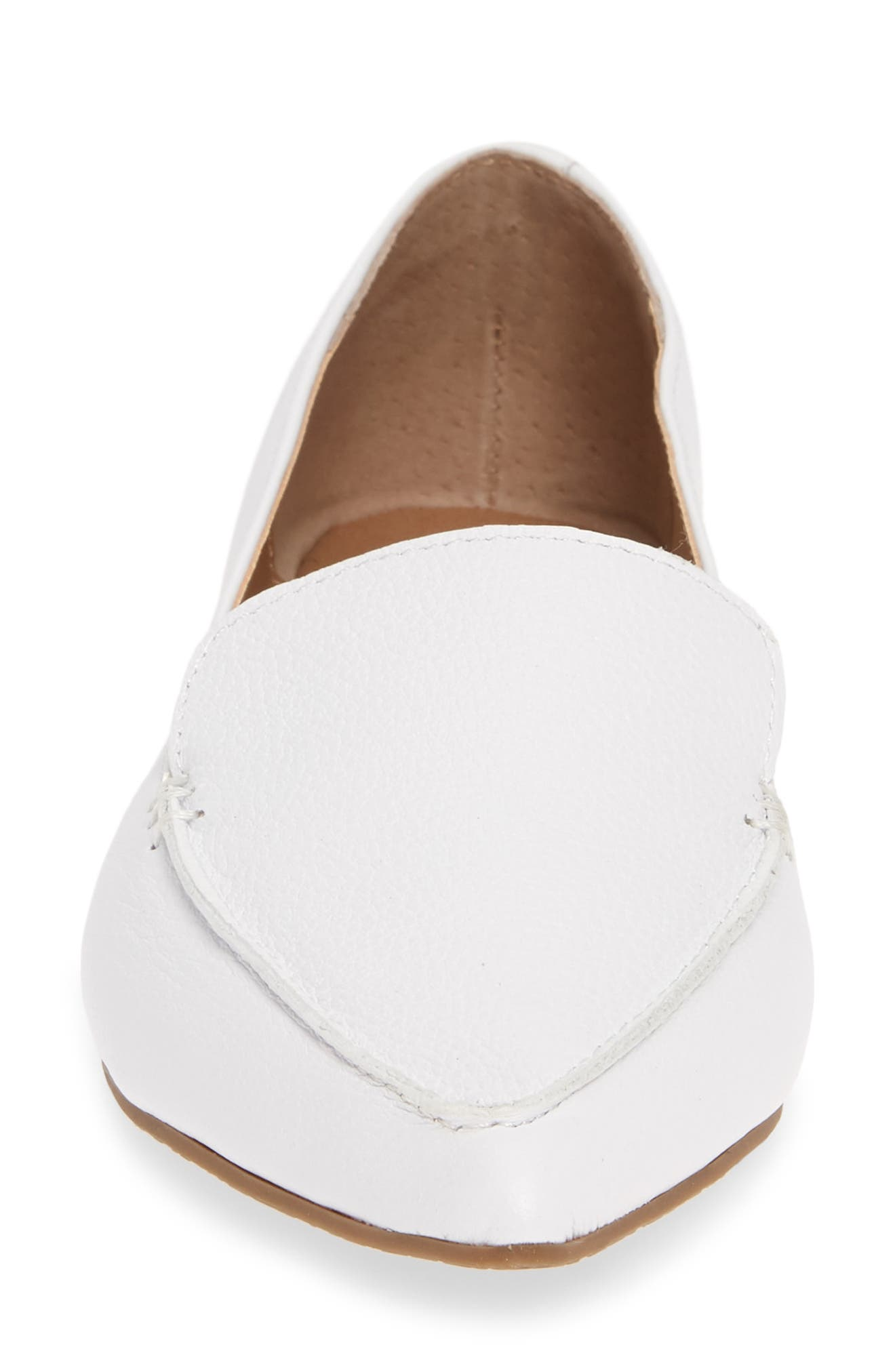 STEVE MADDEN, Feather Loafer Flat, Alternate thumbnail 4, color, WHITE LEATHER