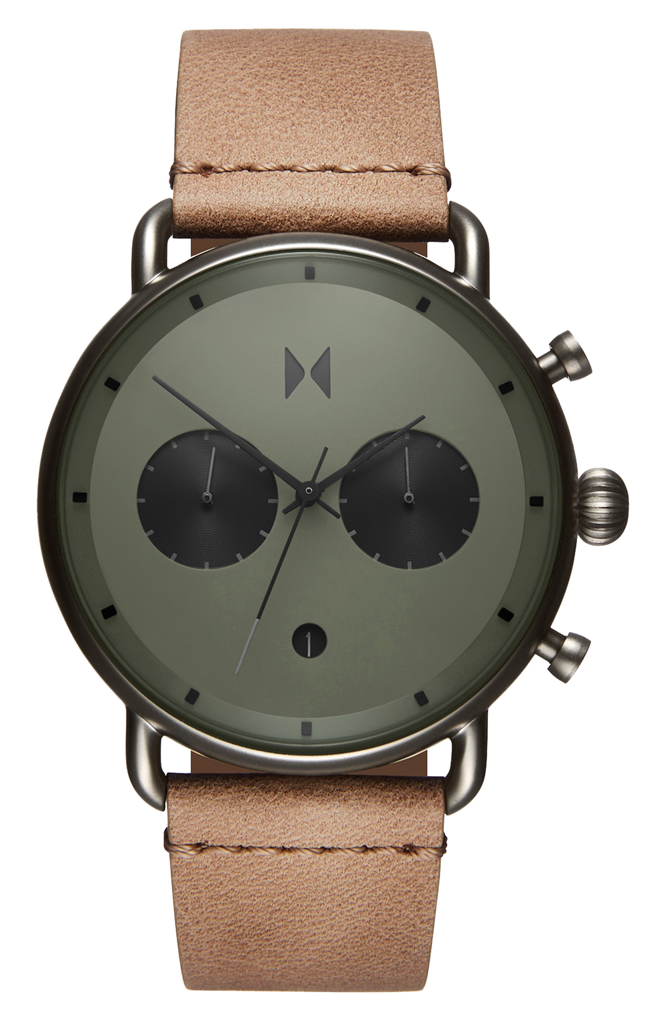 MVMT, Blacktop Chronograph Leather Strap Watch, Alternate thumbnail 4, color, GREEN/ SANDSTONE