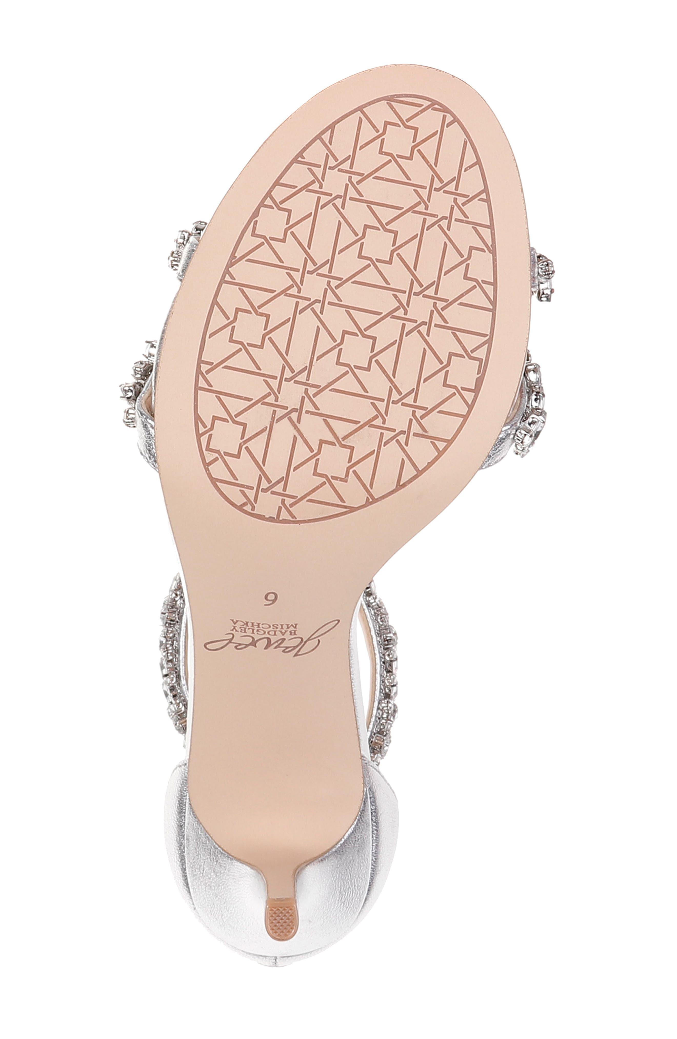 JEWEL BADGLEY MISCHKA, Darlene Embellished Ankle Strap Sandal, Alternate thumbnail 6, color, SILVER LEATHER