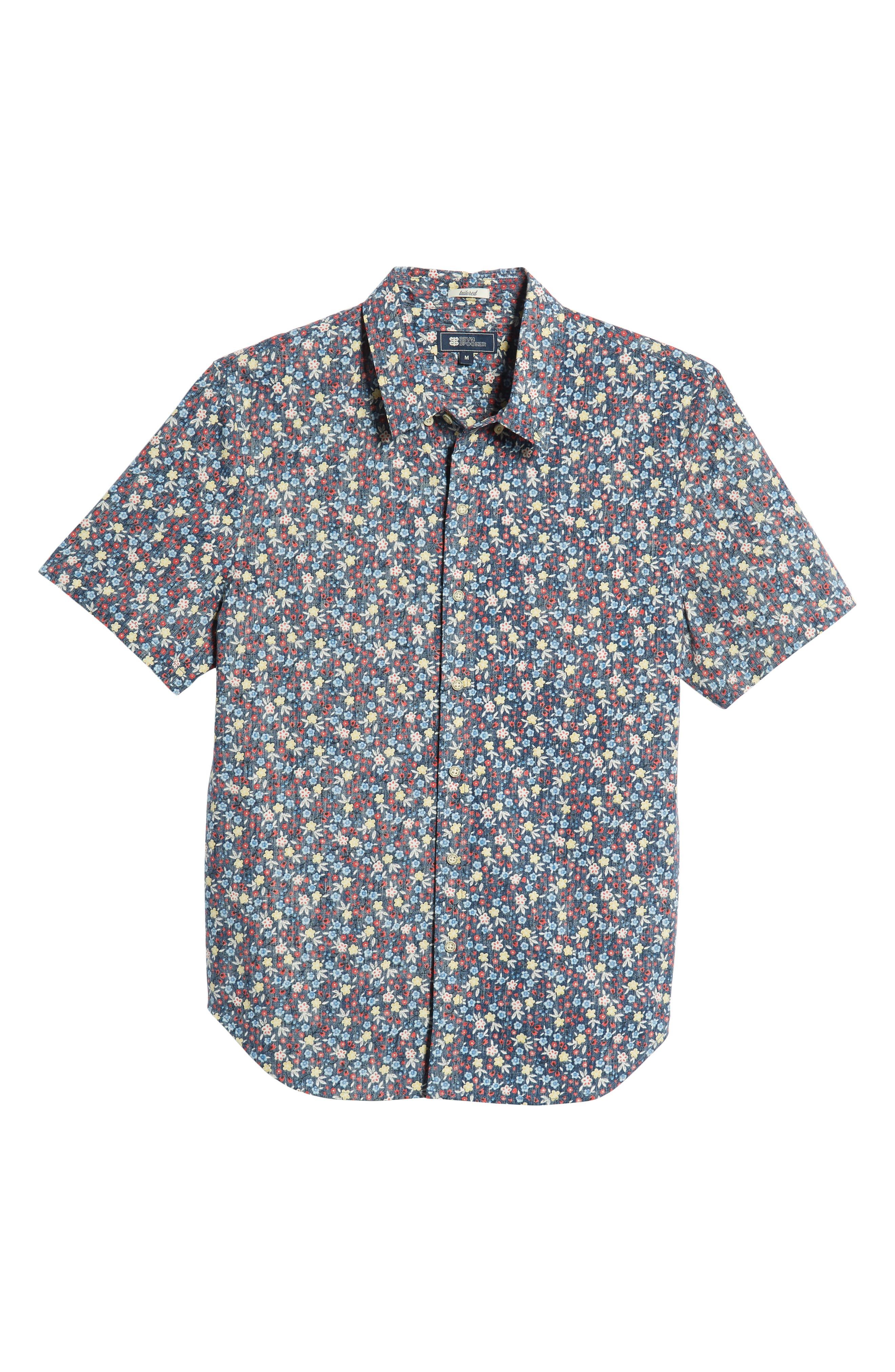 REYN SPOONER, Retro Tailored Fit Sport Shirt, Alternate thumbnail 5, color, MEDIEVAL BLUE