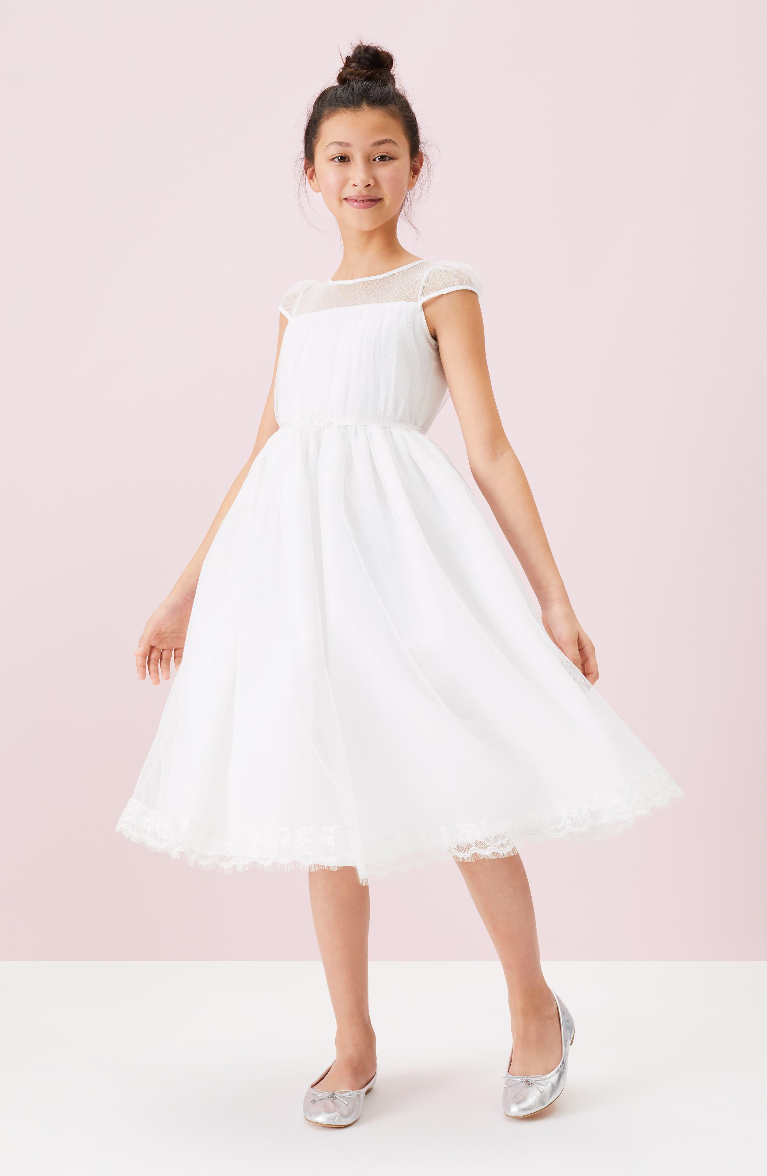 US ANGELS, Illusion Neckline Dress, Alternate thumbnail 6, color, WHITE