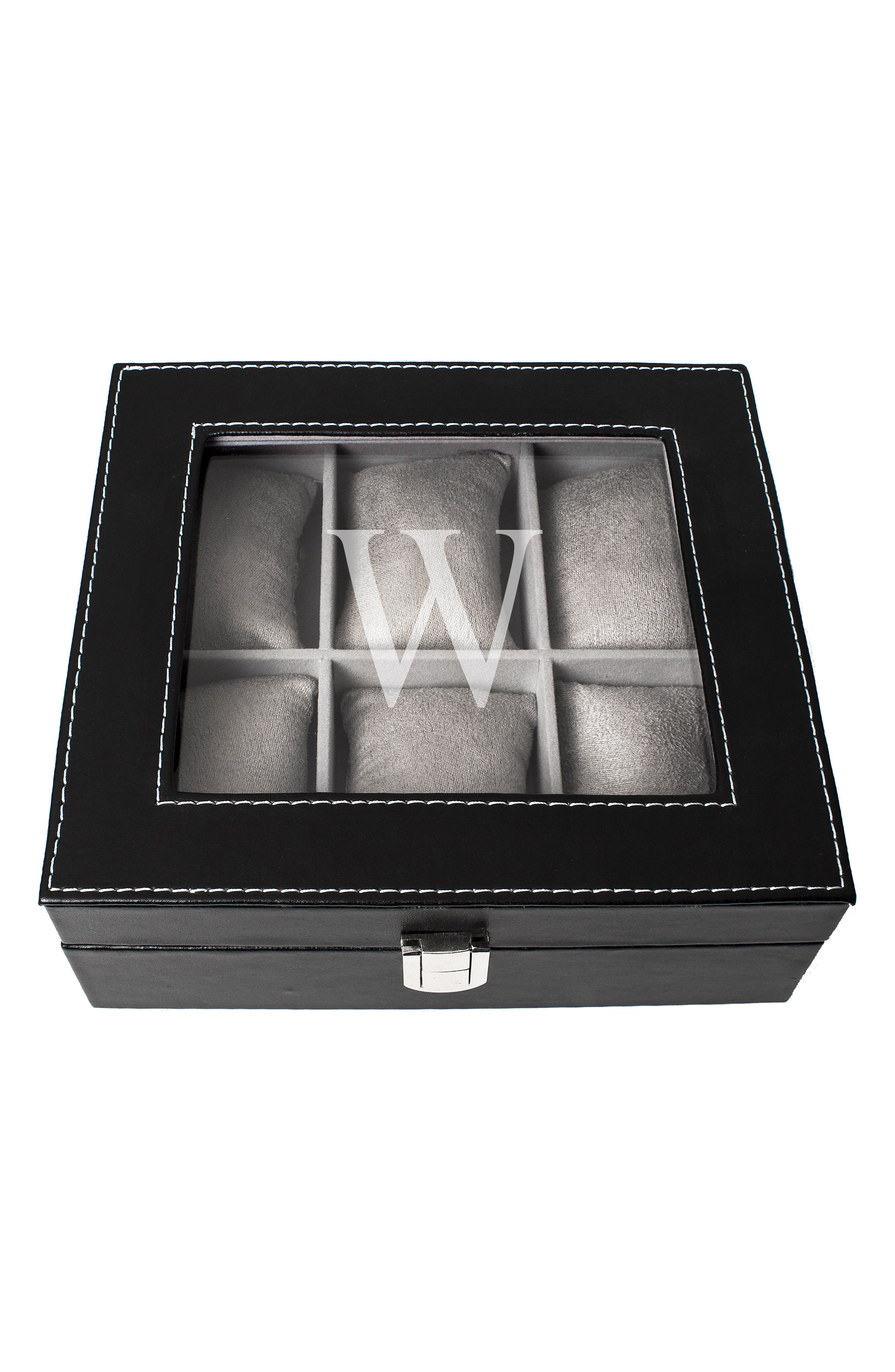 CATHY'S CONCEPTS, Monogram Watch Box, Alternate thumbnail 2, color, W