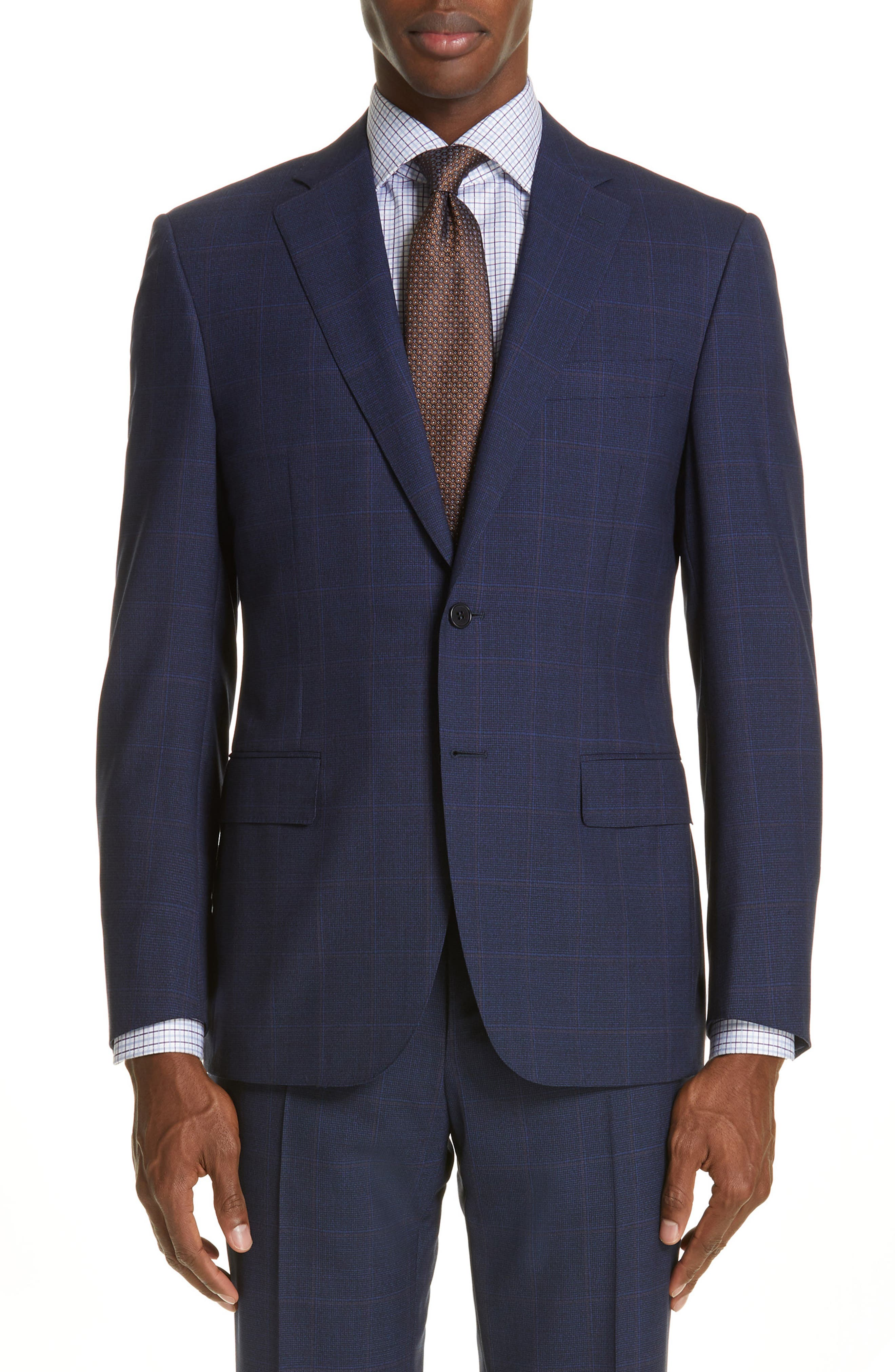 CANALI, Siena Soft Classic Fit Plaid Wool Suit, Alternate thumbnail 5, color, NAVY