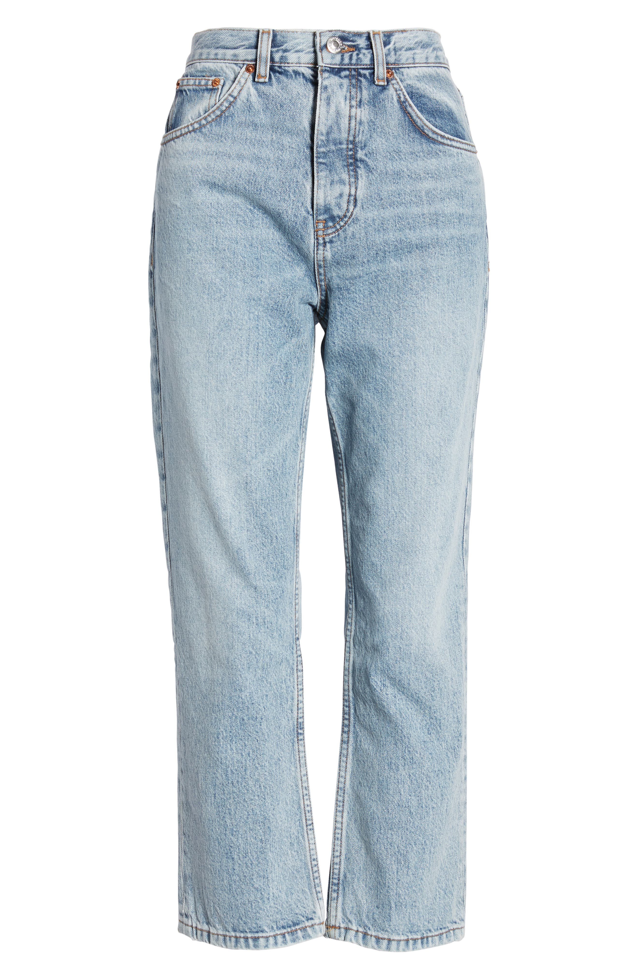 TOPSHOP, Editor Straight Leg Jeans, Alternate thumbnail 3, color, BLEACH