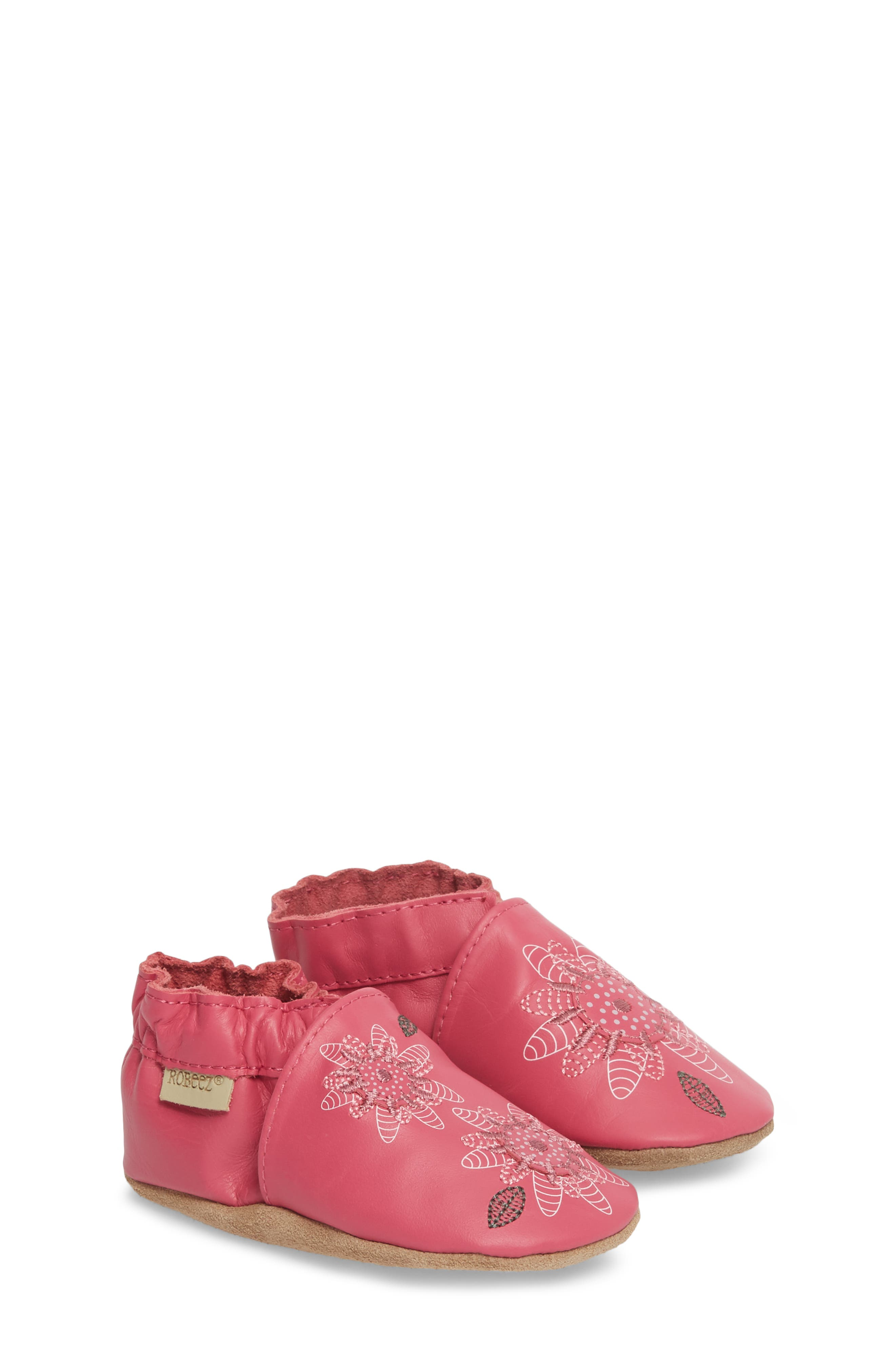 ROBEEZ<SUP>®</SUP>, Fiona Flower Moccasin Crib Shoe, Main thumbnail 1, color, HOT PINK