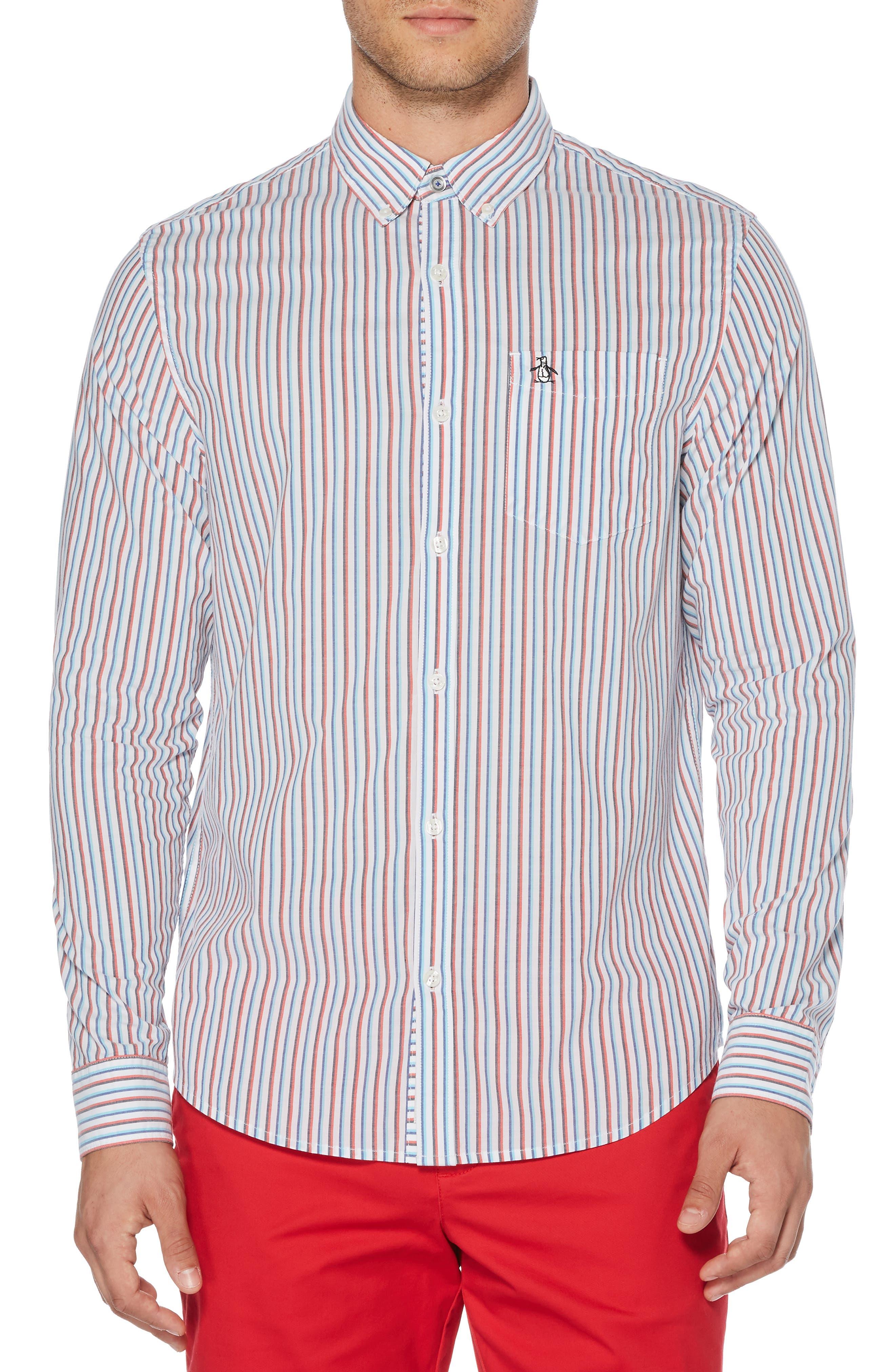 ORIGINAL PENGUIN, Hairline Stripe Sport Shirt, Main thumbnail 1, color, BRIGHT WHITE