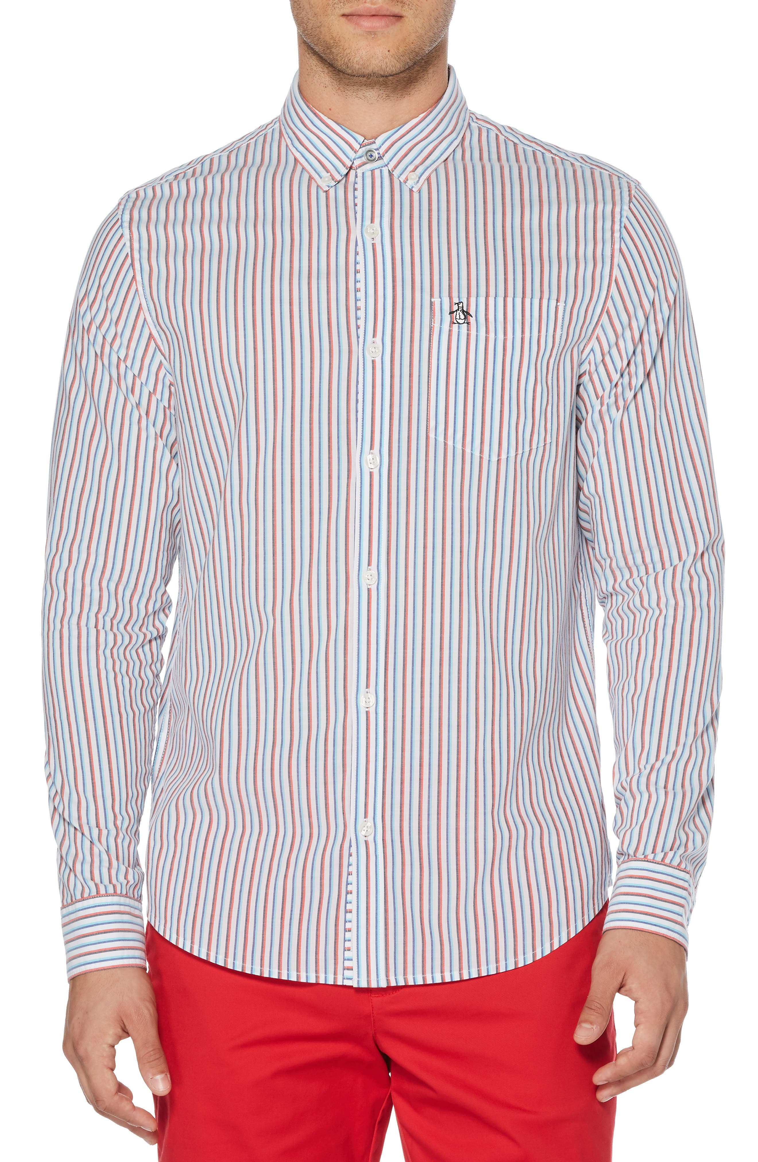 ORIGINAL PENGUIN Hairline Stripe Sport Shirt, Main, color, BRIGHT WHITE