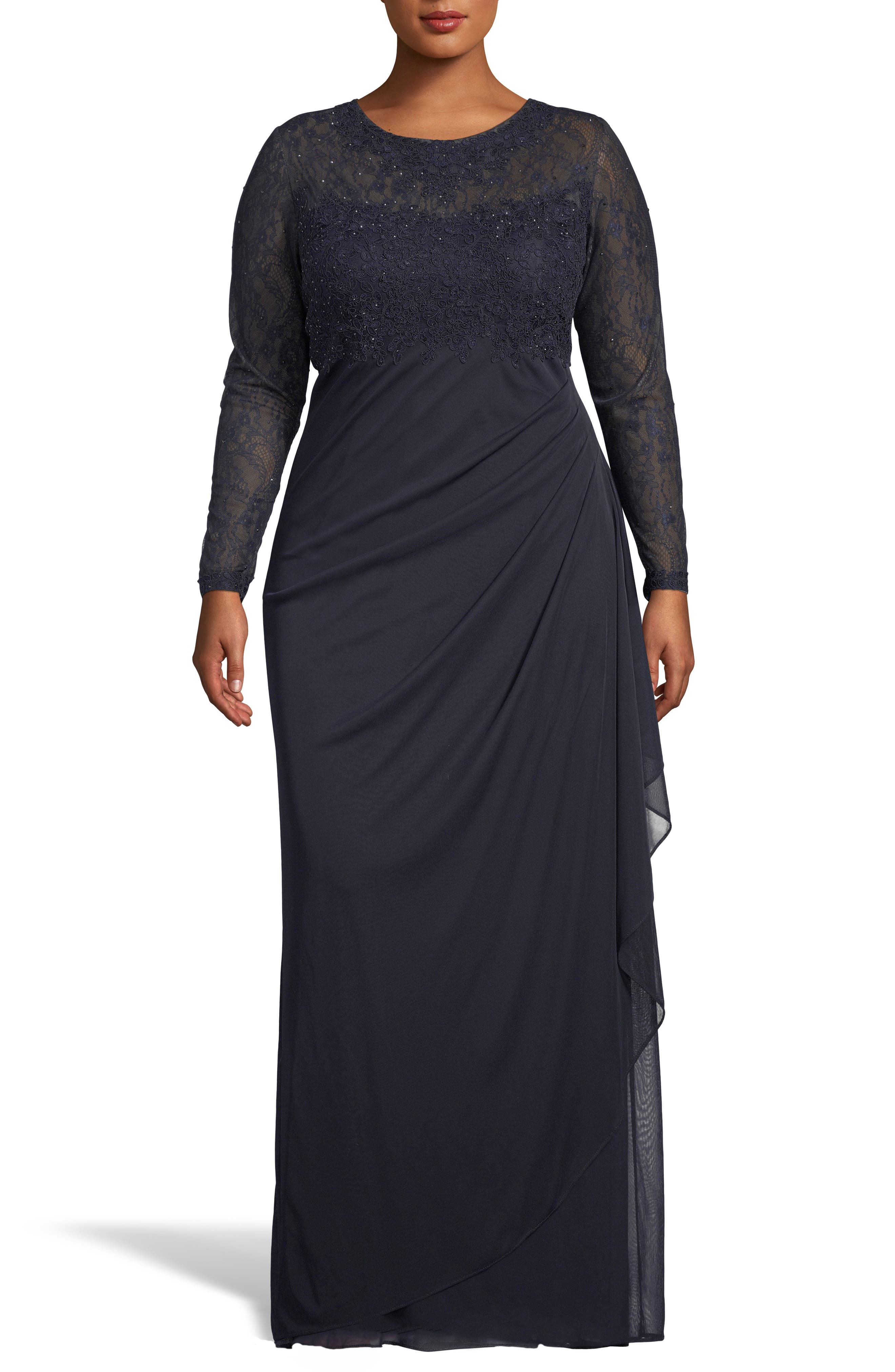 XSCAPE, Lace Bodice Ruched Evening Dress, Main thumbnail 1, color, NAVY