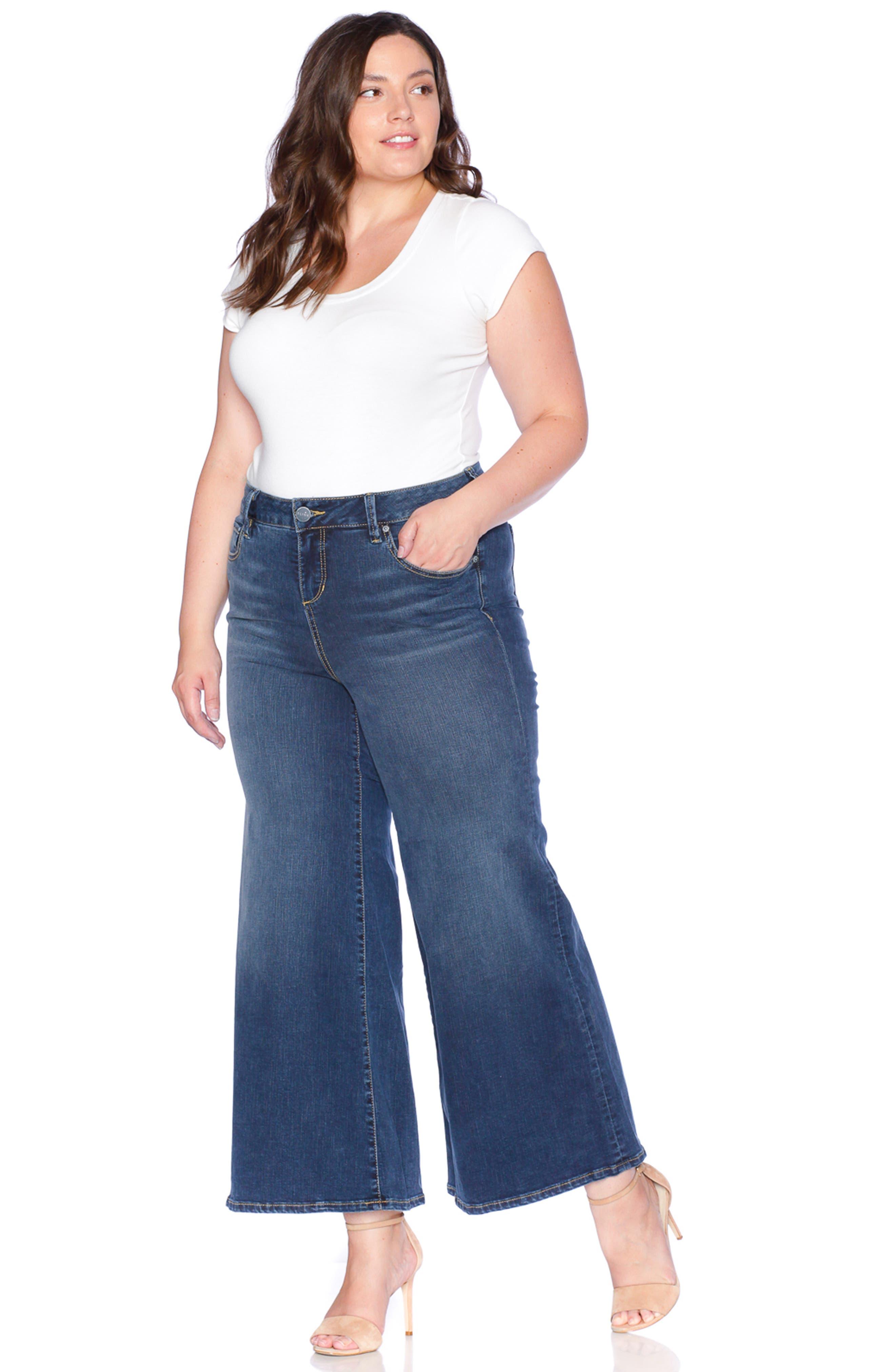 SLINK JEANS, SLINK High Waist Wide Leg Crop Jeans, Alternate thumbnail 5, color, HEATHER