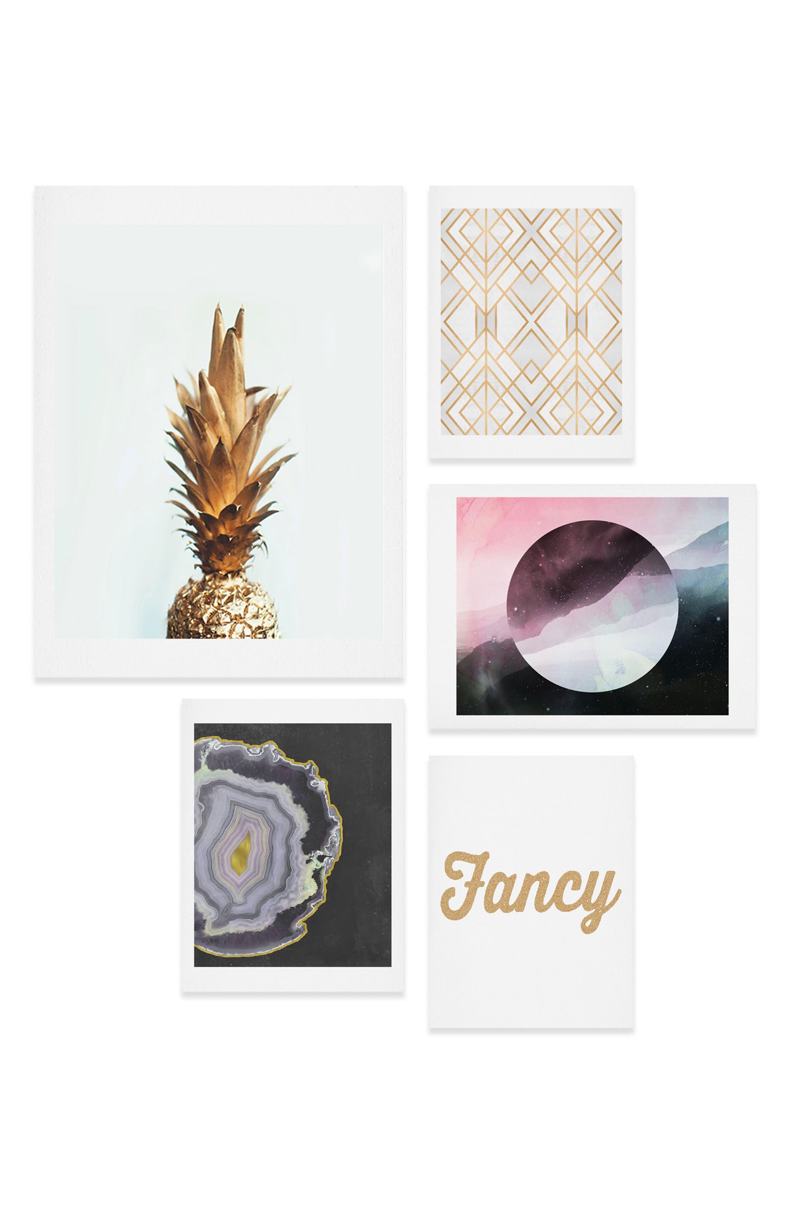 DENY DESIGNS Fancy Five-Piece Gallery Wall Art Print Set, Main, color, 710