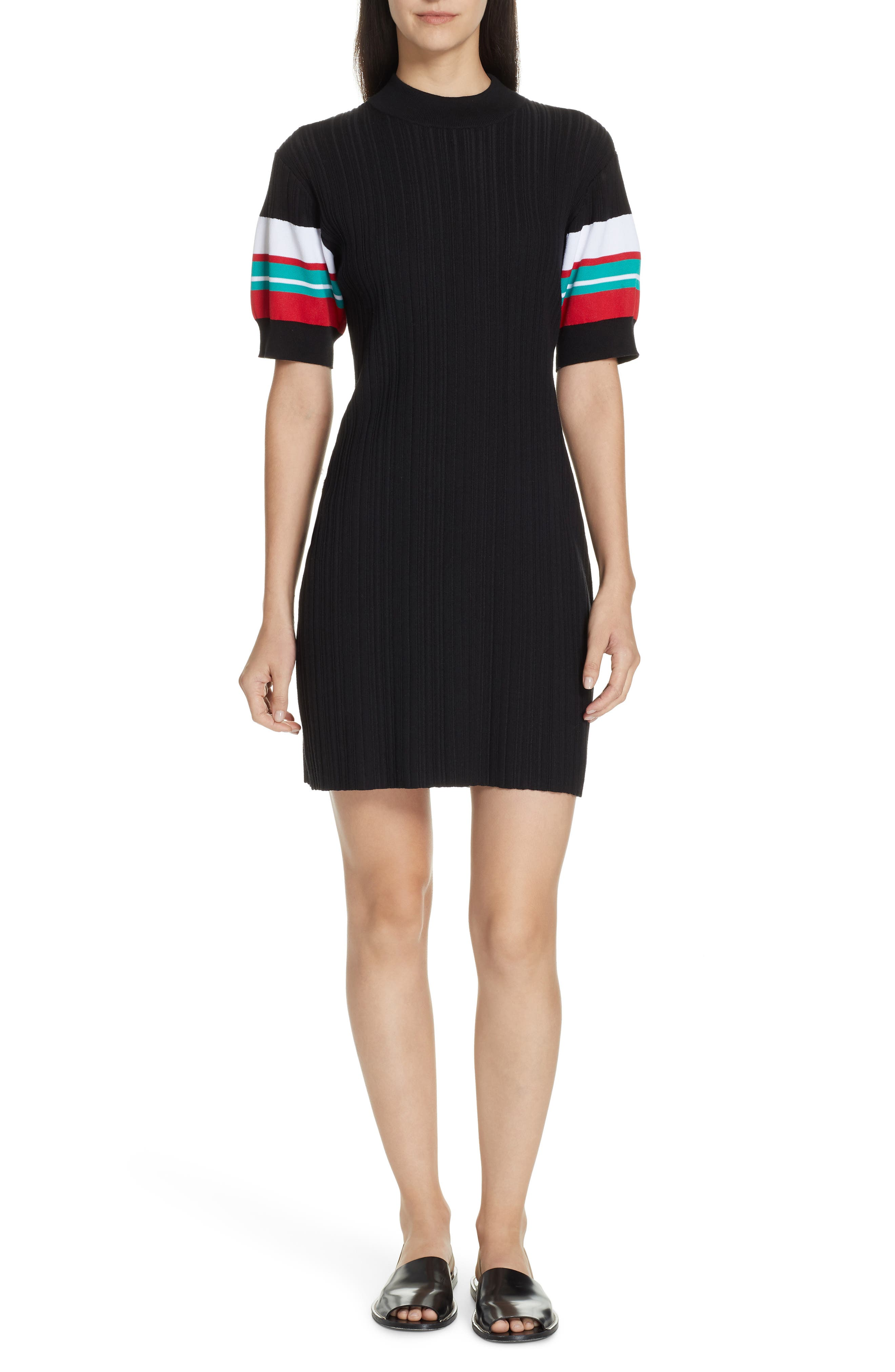 Proenza Schouler Pswl Stripe Sleeve Ribbed Dress, Black