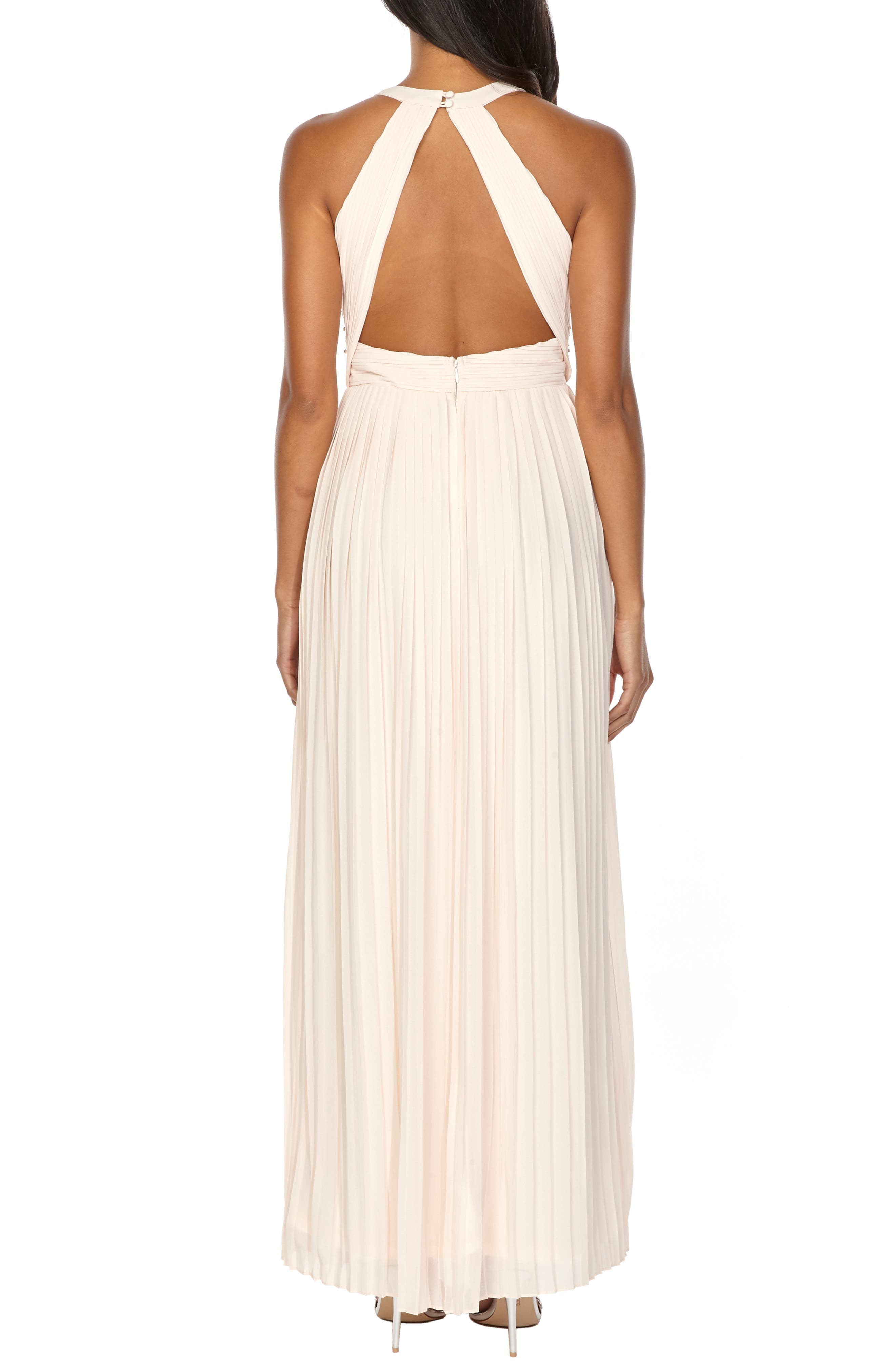 TFNC, Adora Beaded Waist Gown, Alternate thumbnail 2, color, NUDE
