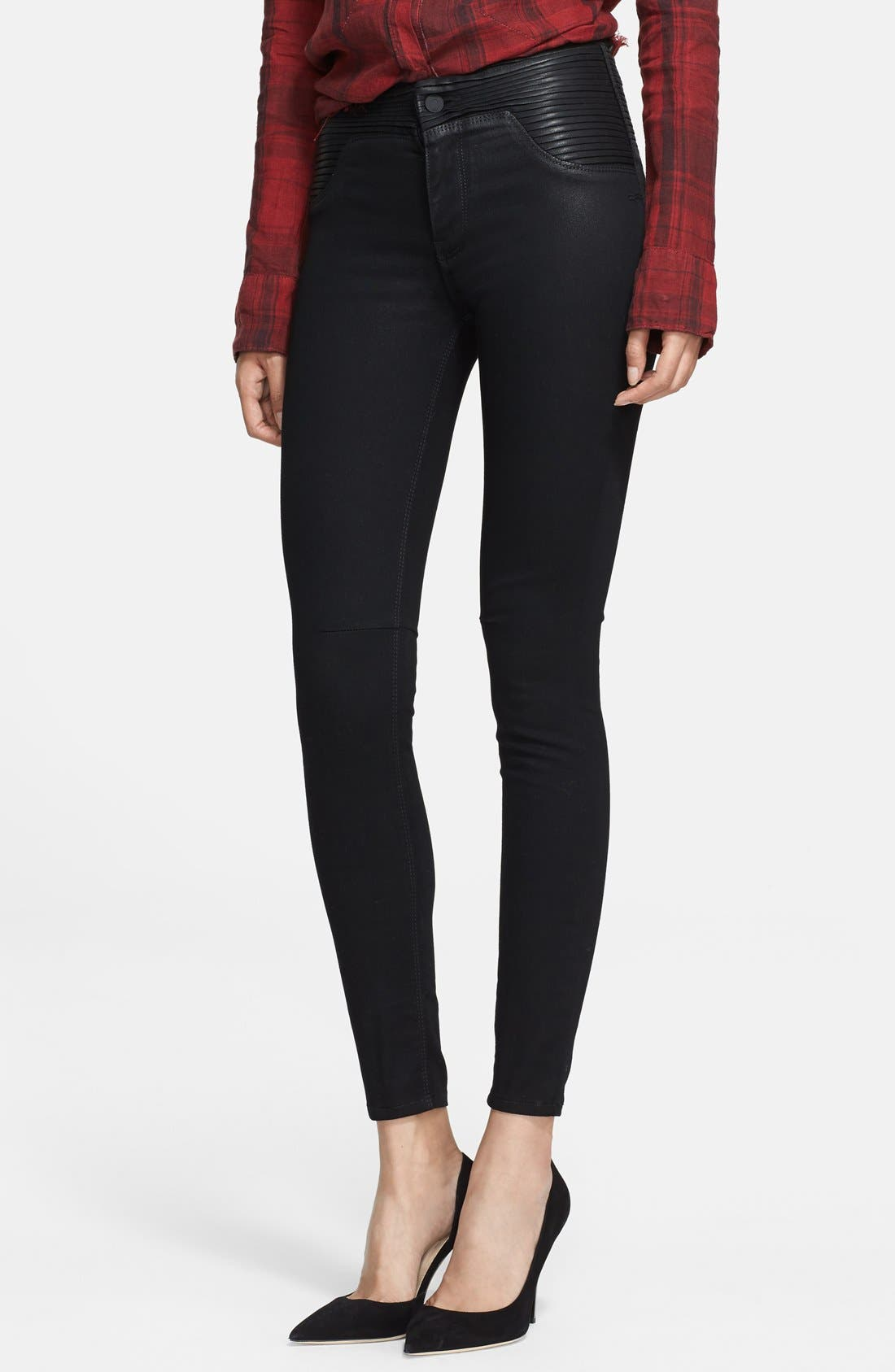 RTA Pleat Detail High Waist Skinny Jeans, Main, color, 004