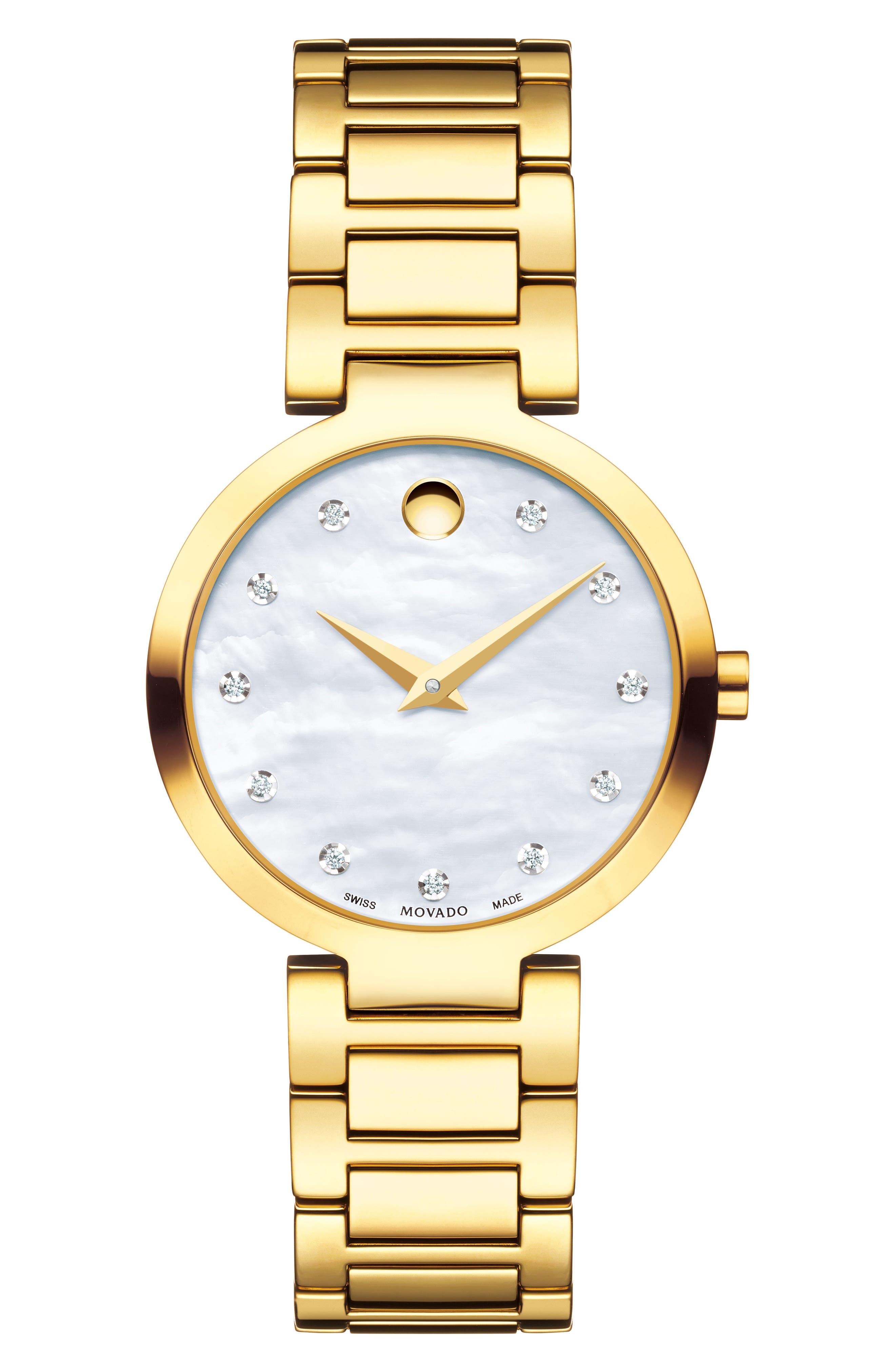 MOVADO, Modern Classic Diamond Bracelet Watch, 28mm, Main thumbnail 1, color, GOLD/ MOP/ GOLD
