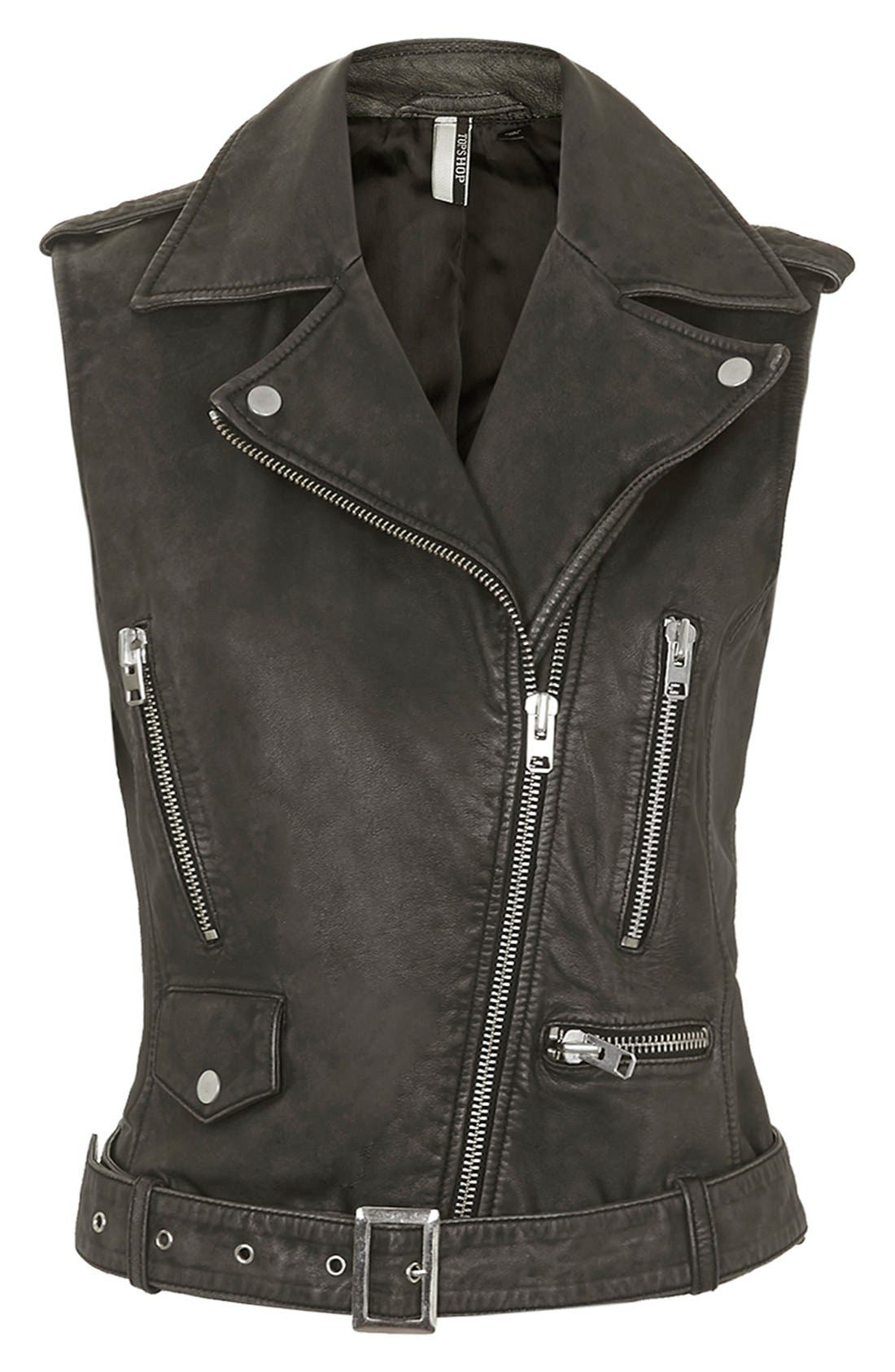 TOPSHOP, 'Sylvia' Leather Biker Vest, Alternate thumbnail 4, color, 001
