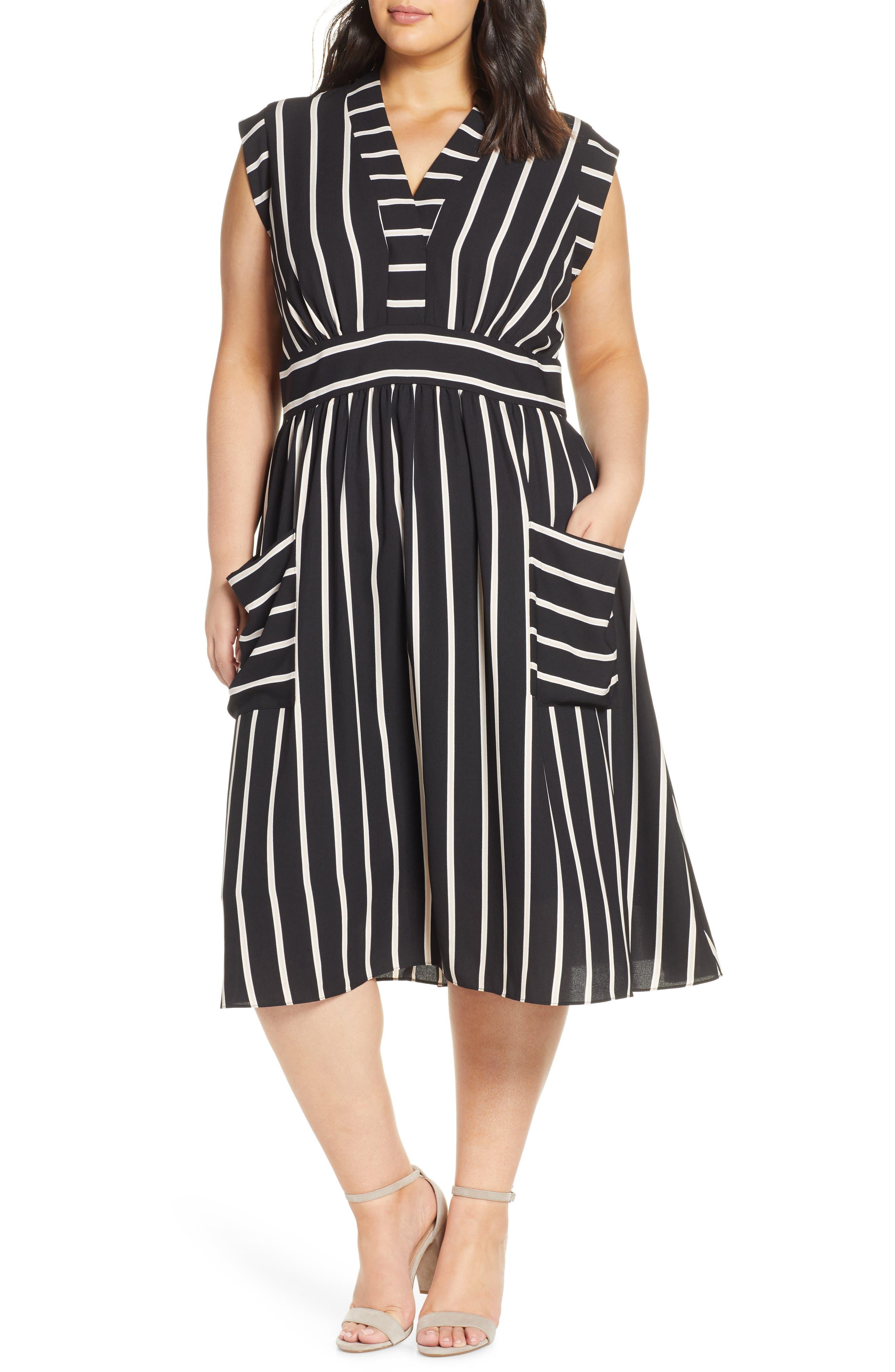 Plus Size Vince Camuto Stripe A-Line Dress, Black