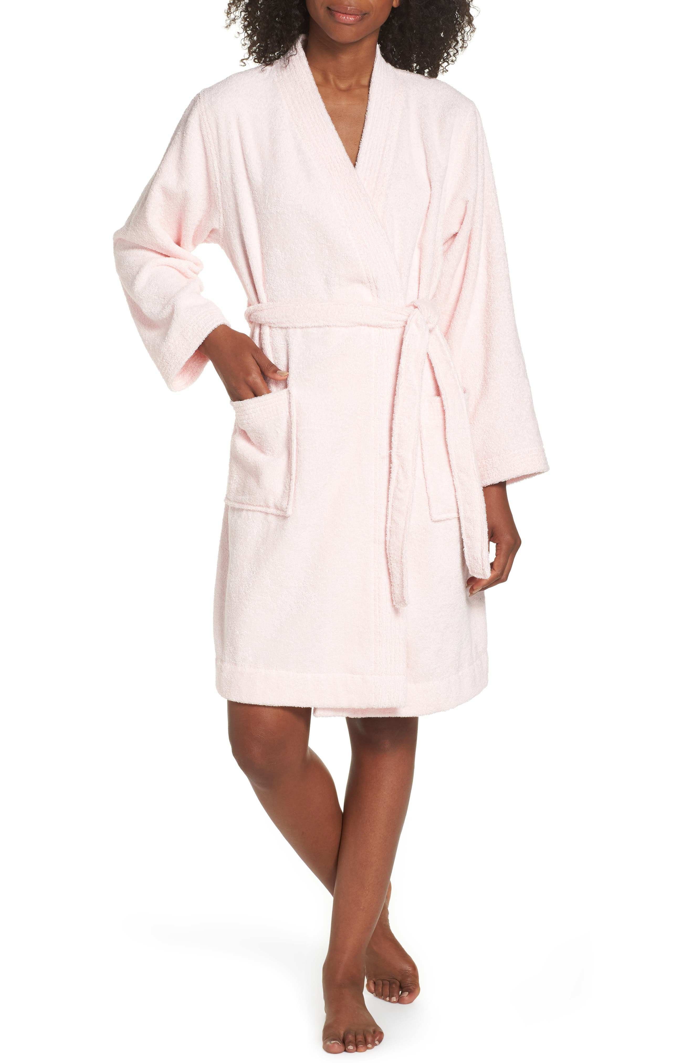 UGG<SUP>®</SUP>, Lorie Terry Short Robe, Main thumbnail 1, color, SEASHELL PINK