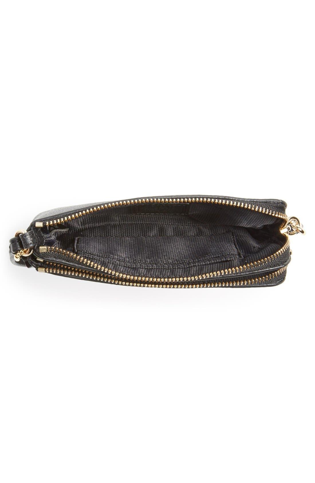 COACH, 'Madison' Double Zip Leather Wallet, Alternate thumbnail 6, color, 001