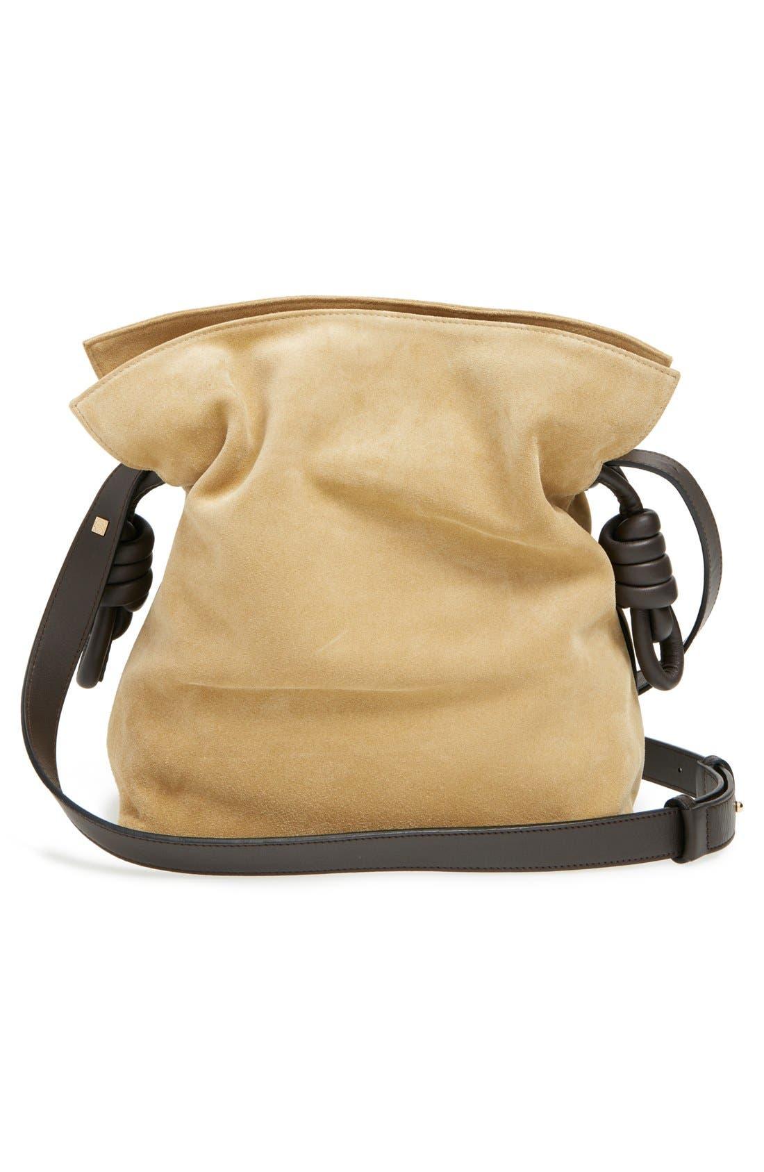 LOEWE, 'Flamenco Knot' Suede & Calfskin Leather Bag, Alternate thumbnail 5, color, 250