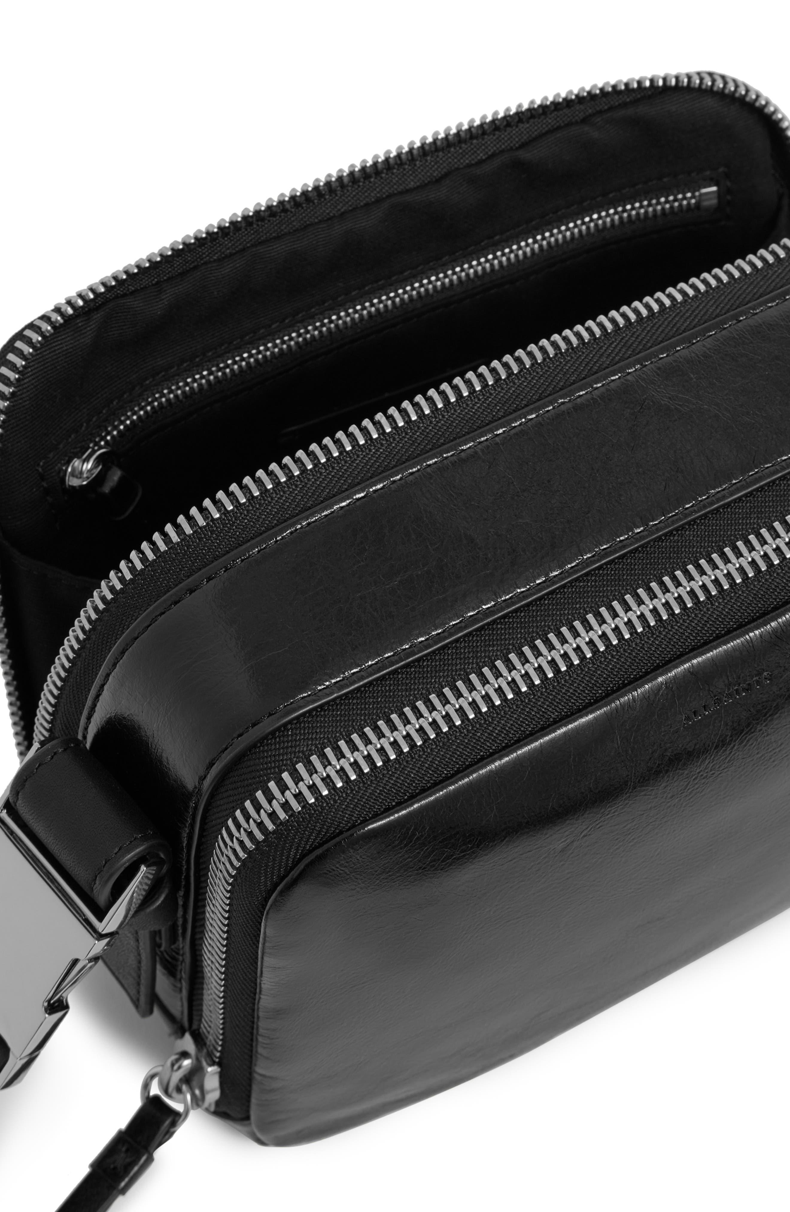 ALLSAINTS, Leather Belt Bag, Alternate thumbnail 4, color, 001
