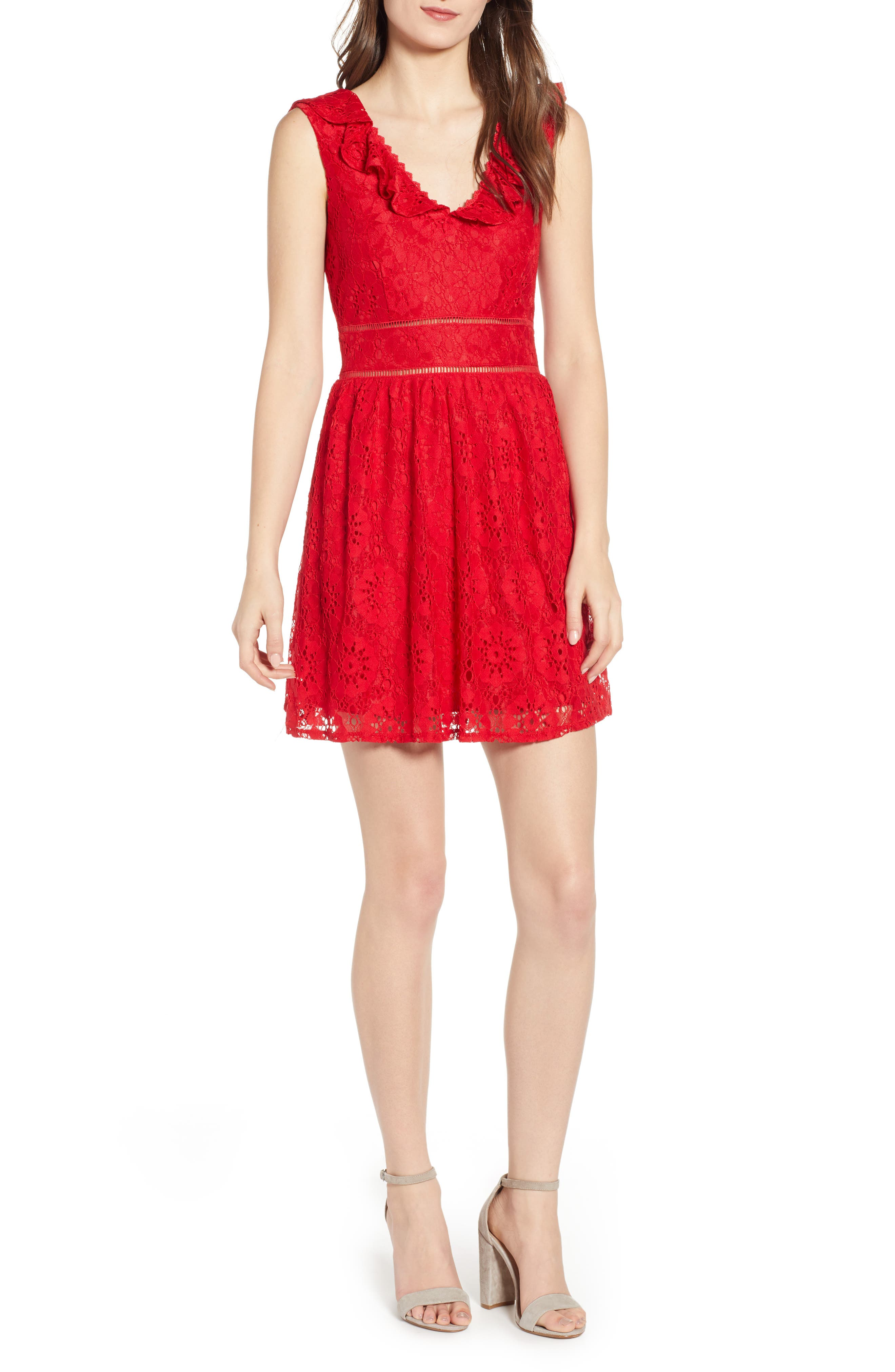 SPEECHLESS Lace Ruffle Neck Skater Dress, Main, color, RED