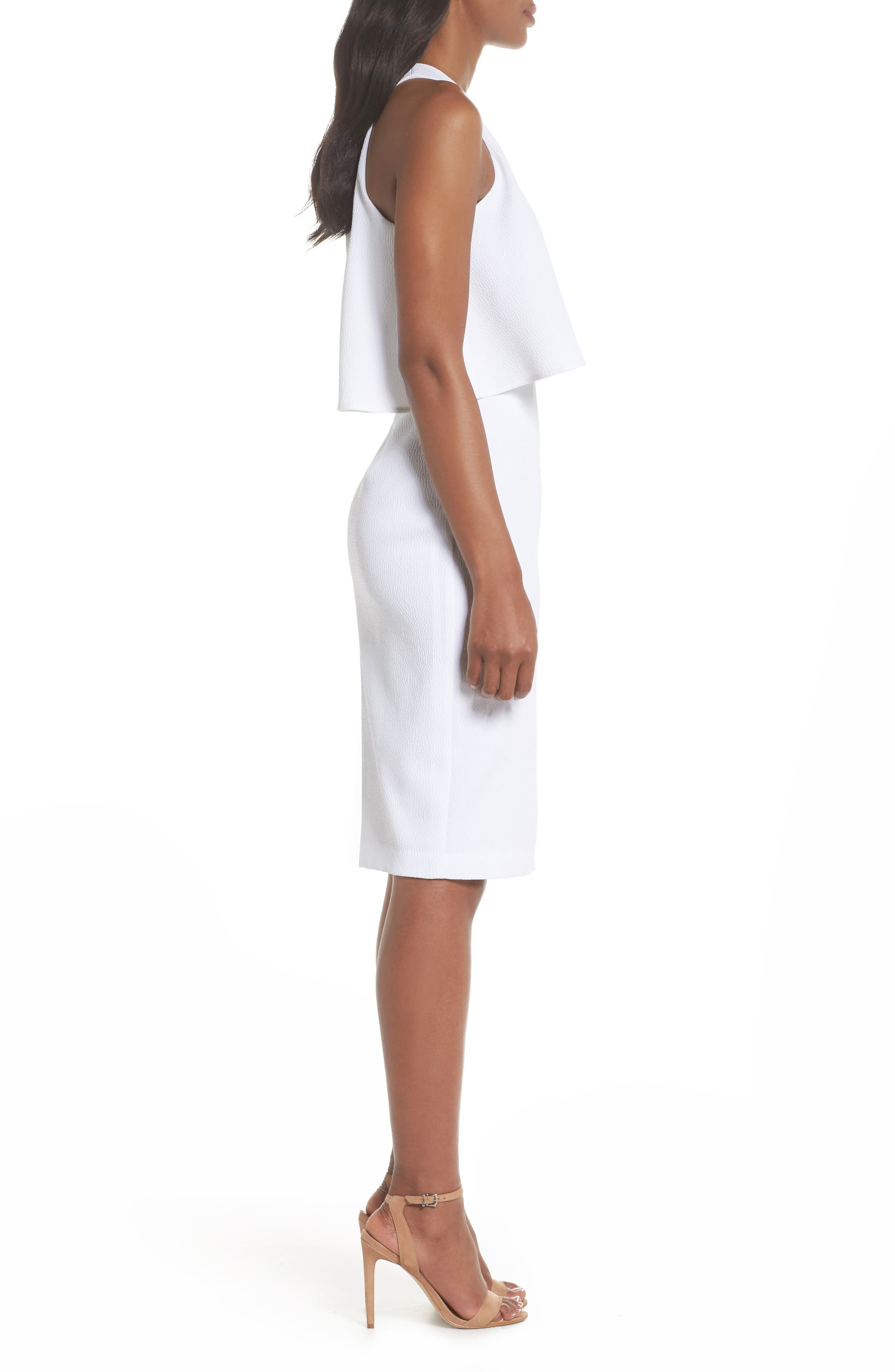 CHELSEA28, Popover Crop Sheath Dress, Alternate thumbnail 4, color, WHITE SNOW