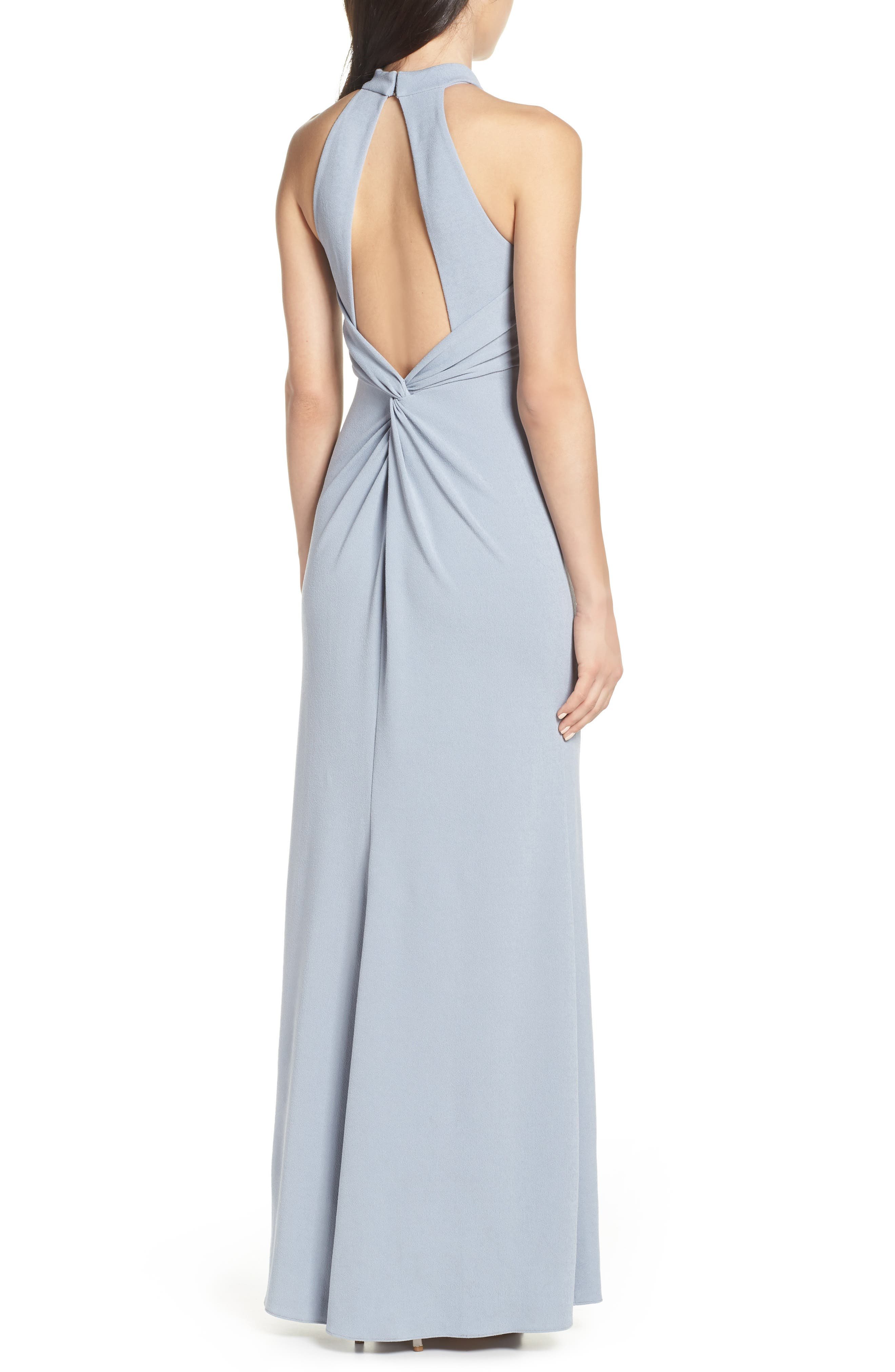 AFTER SIX, Halter Neck Stretch Crepe Evening Dress, Alternate thumbnail 2, color, PLATINUM