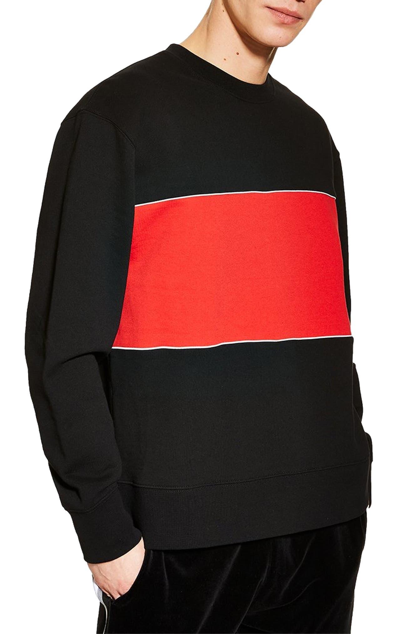 TOPMAN, Colorblock Longline Crewneck Sweatshirt, Main thumbnail 1, color, BLACK