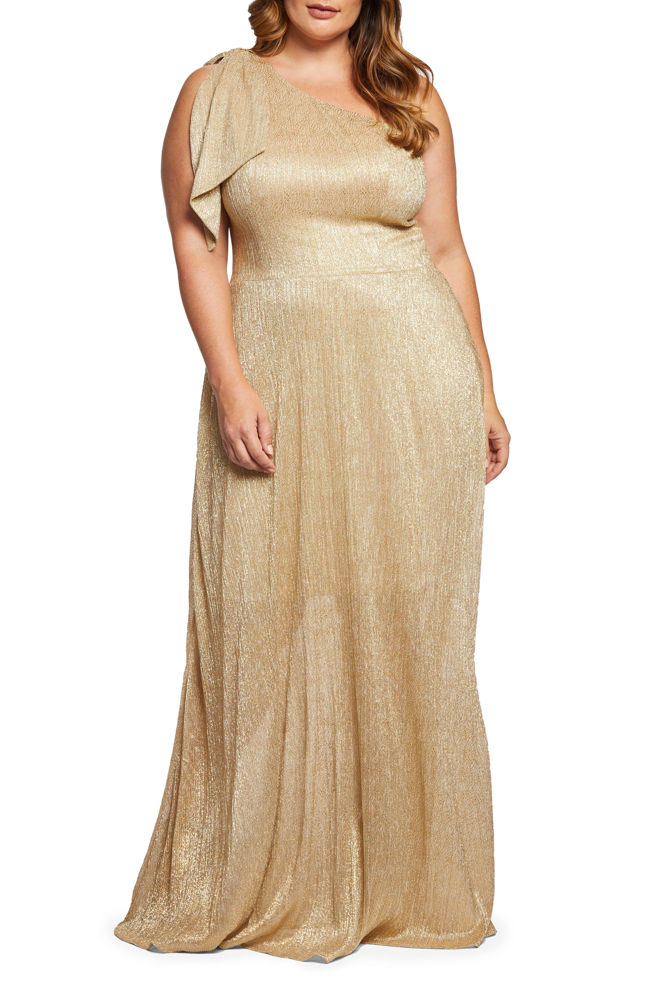 DRESS THE POPULATION, Savannah One-Shoulder Gown, Main thumbnail 1, color, GOLD