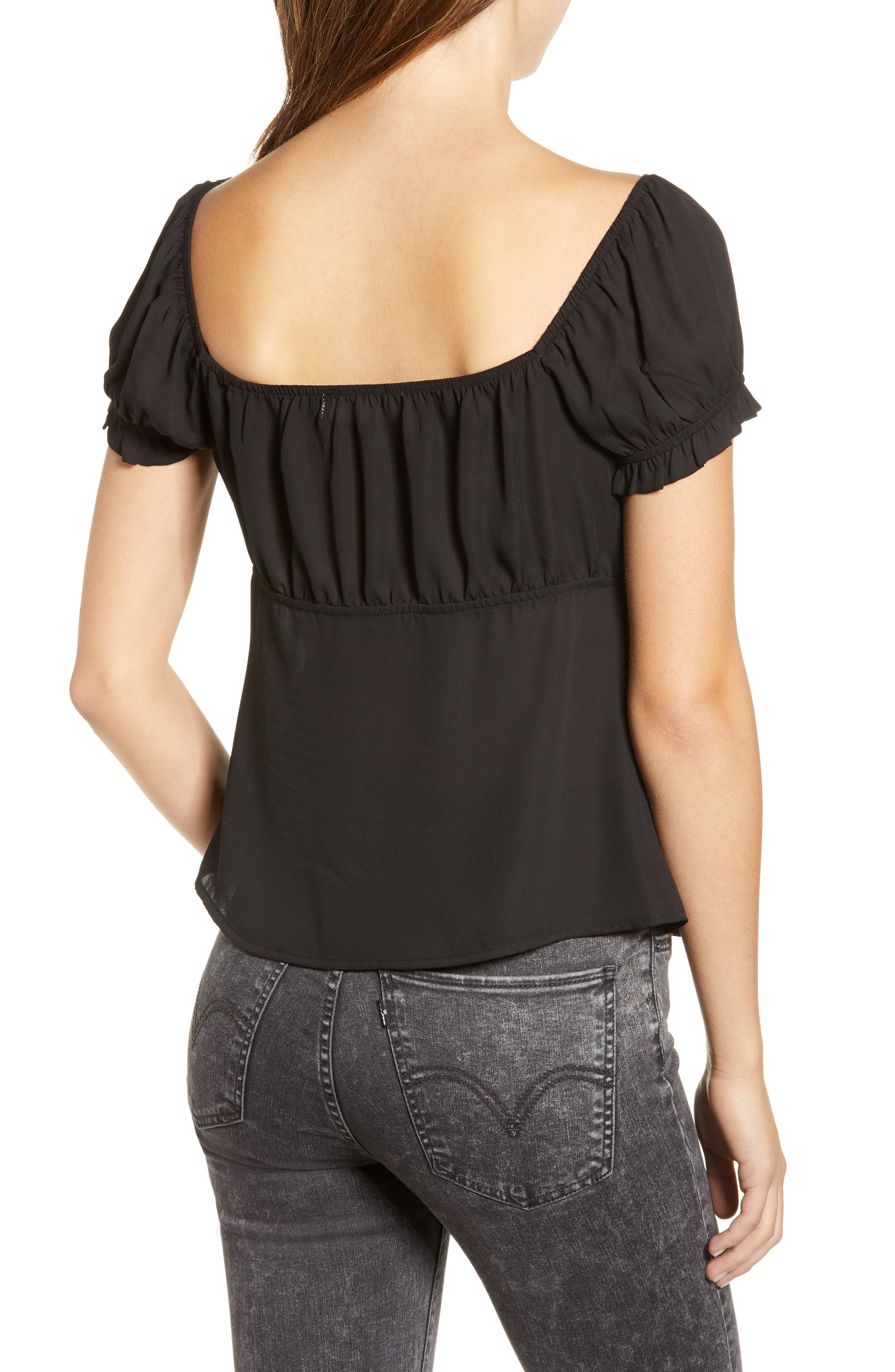 ROW A, Cap Sleeve Top, Alternate thumbnail 2, color, BLACK SOLID