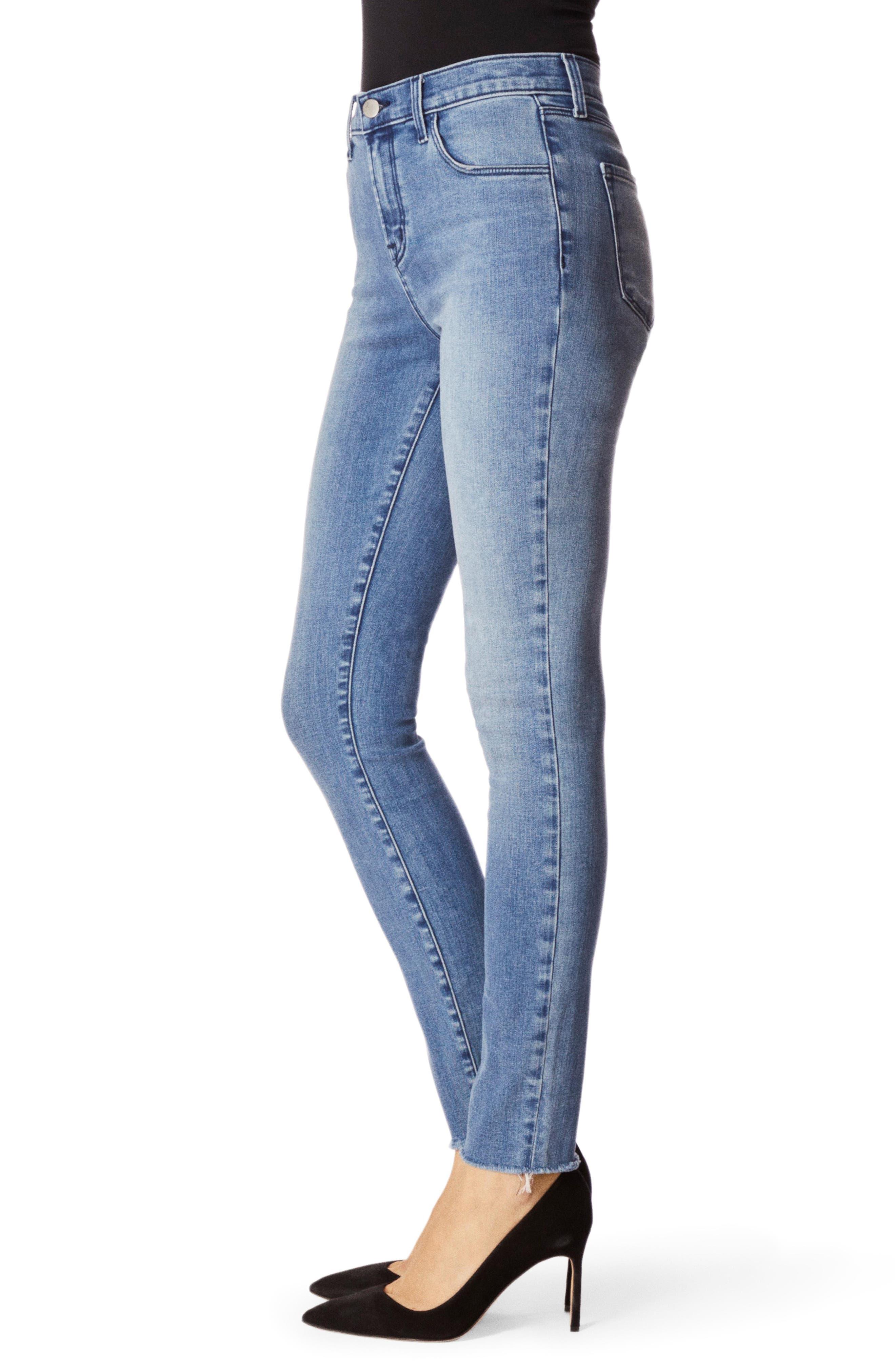 J BRAND, Maria High Waist Raw Hem Skinny Jeans, Alternate thumbnail 2, color, VEGA
