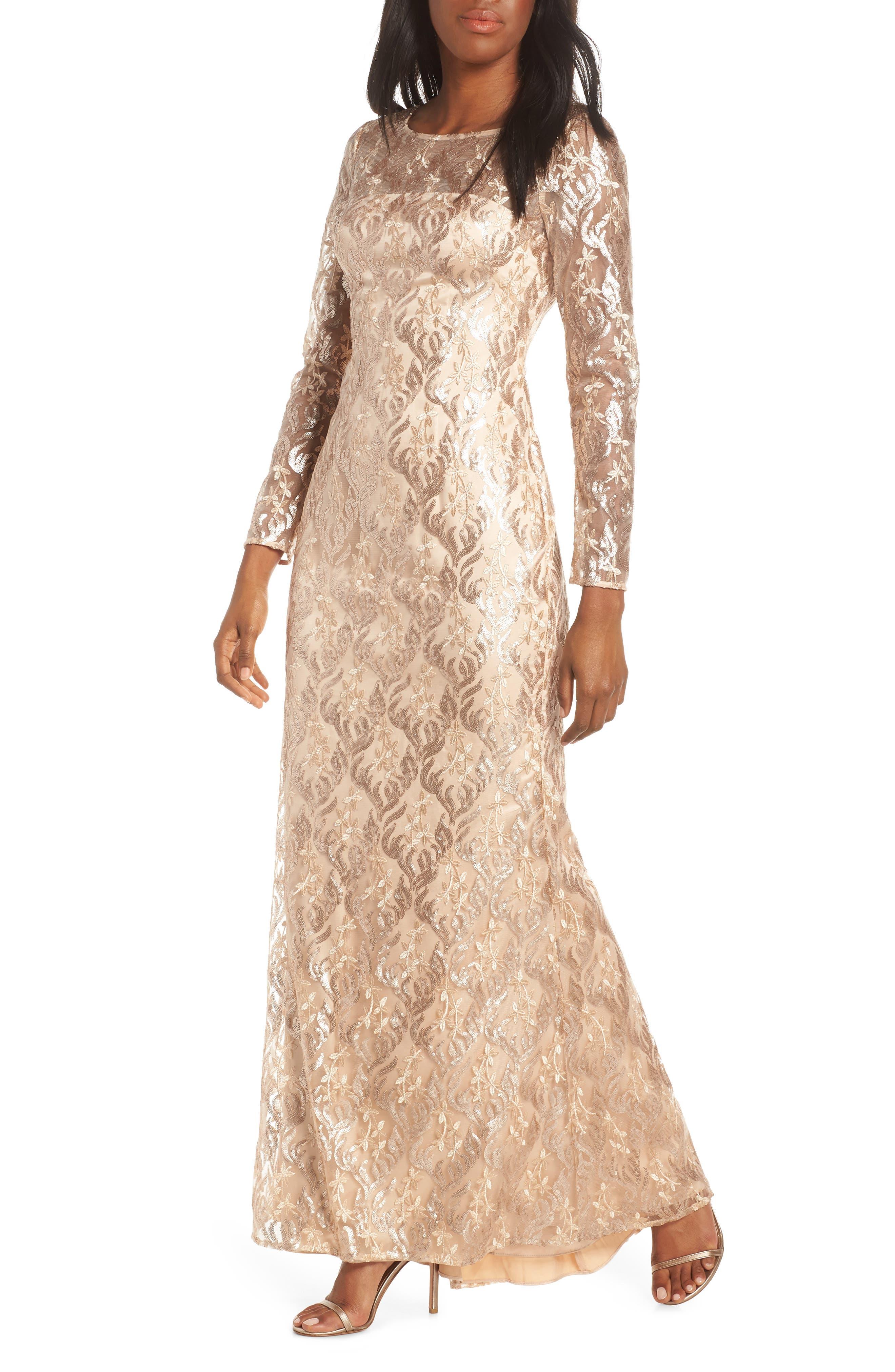 Eliza J Sequin Mesh Long Sleeve Gown, Beige
