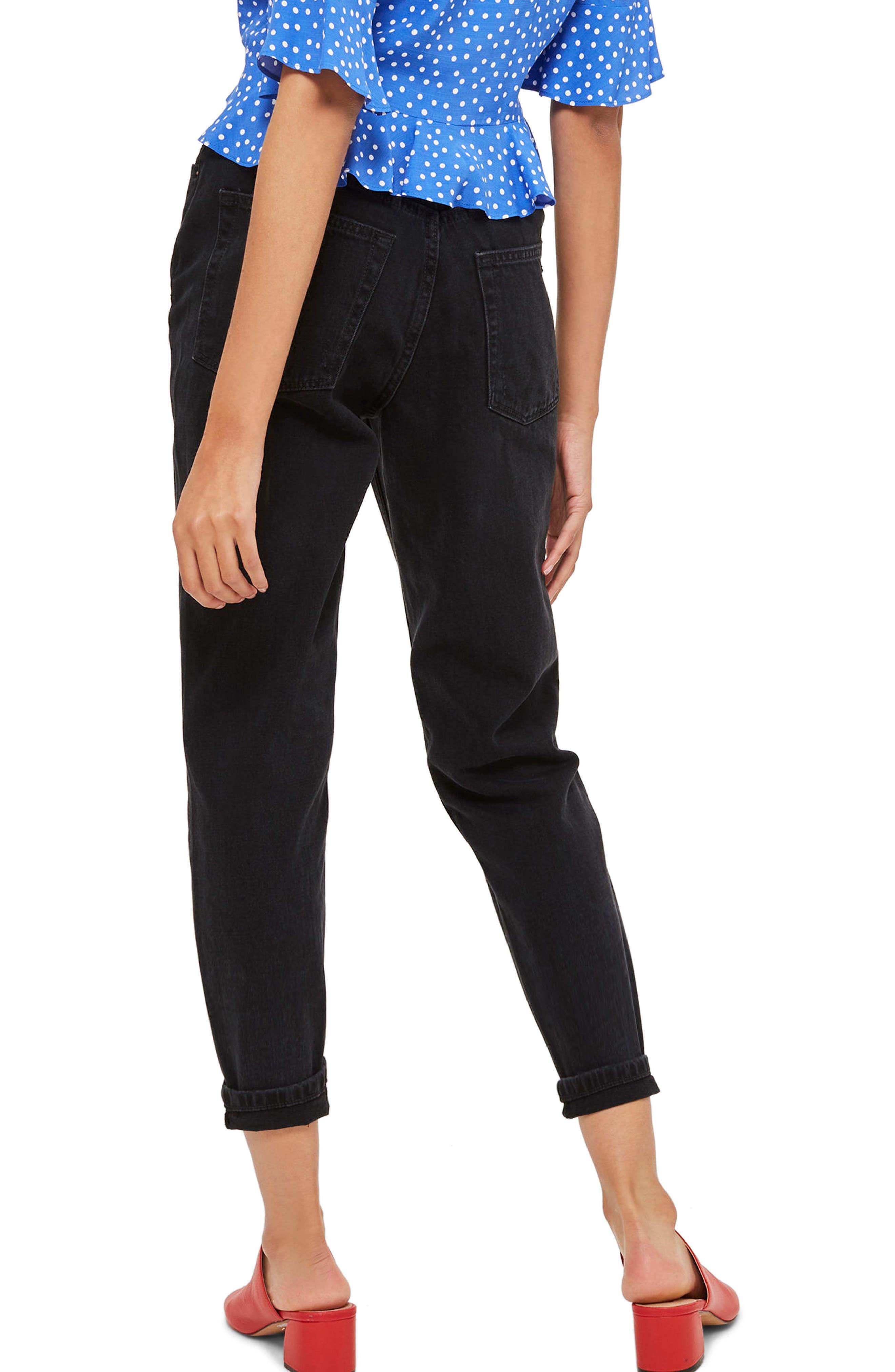 TOPSHOP, Black Mom Jeans, Alternate thumbnail 2, color, BLACK