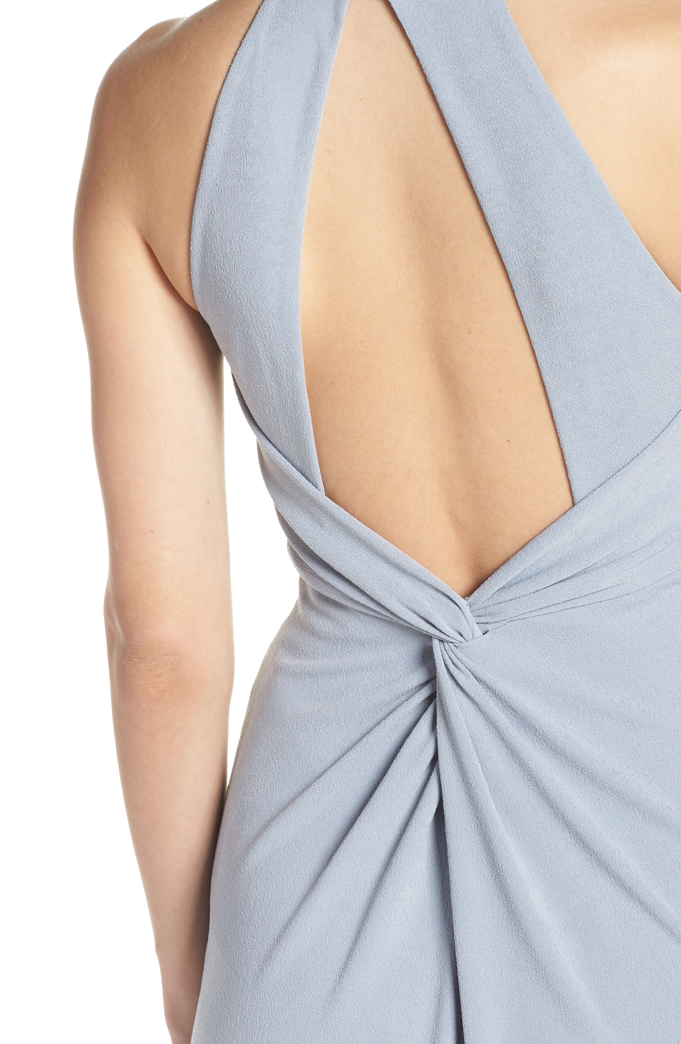 AFTER SIX, Halter Neck Stretch Crepe Evening Dress, Alternate thumbnail 5, color, PLATINUM