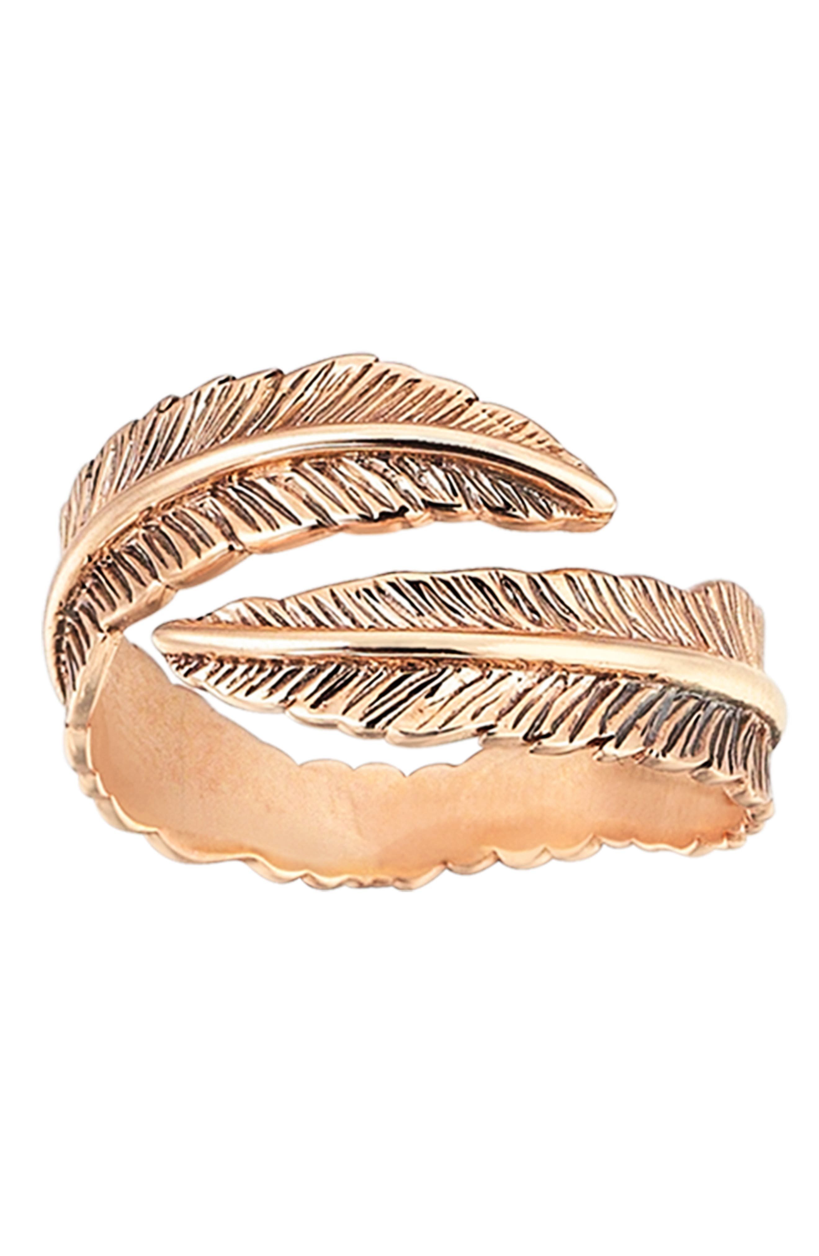 KISMET BY MILKA, Double Row Feather Pinky Ring, Alternate thumbnail 3, color, ROSE GOLD