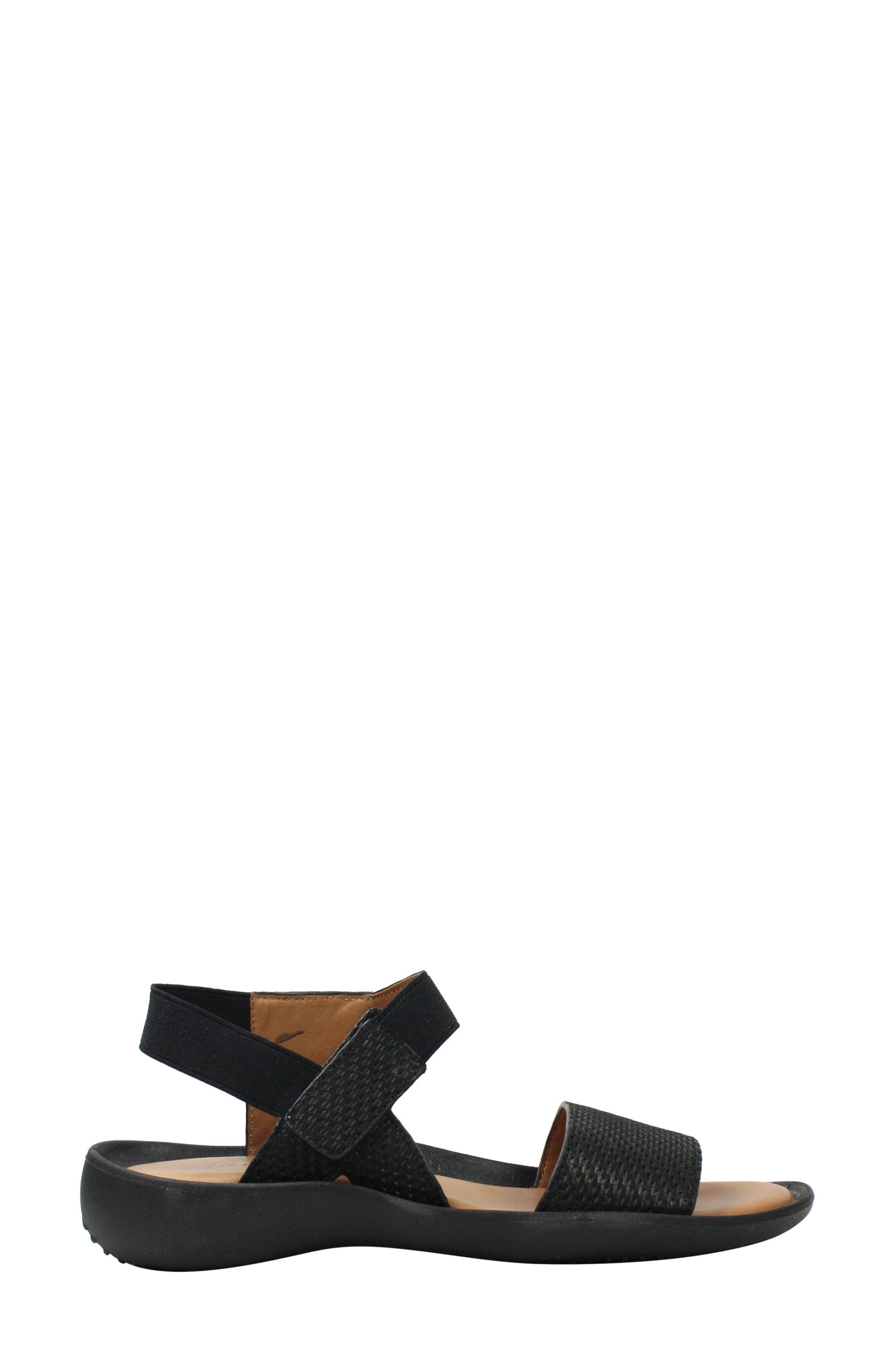 L'AMOUR DES PIEDS, Nolwyn Sandal, Alternate thumbnail 3, color, BLACK WOVEN LEATHER