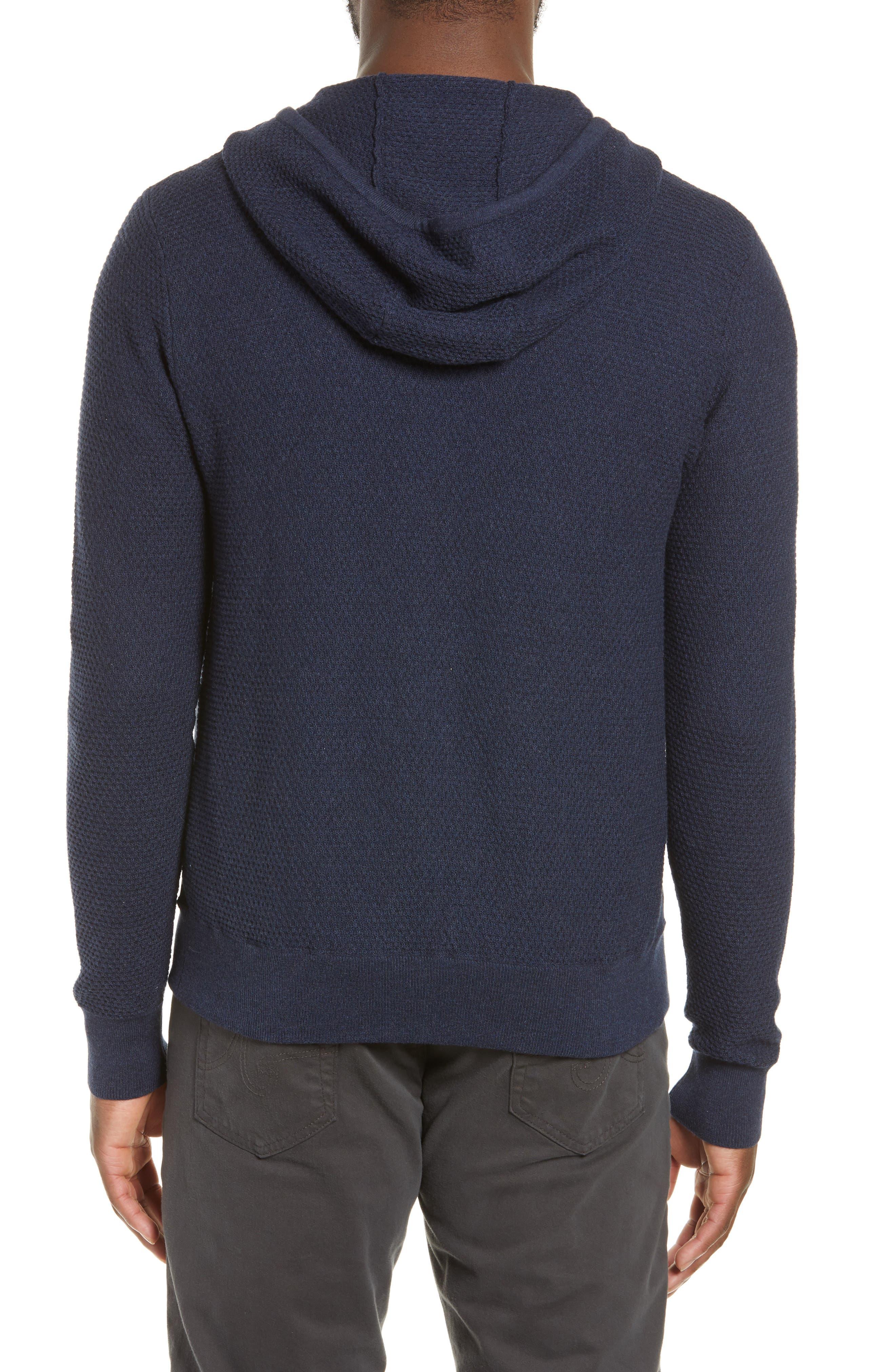 ZACHARY PRELL, Cedarhurst Hooded Zip Sweater, Alternate thumbnail 2, color, NAVY