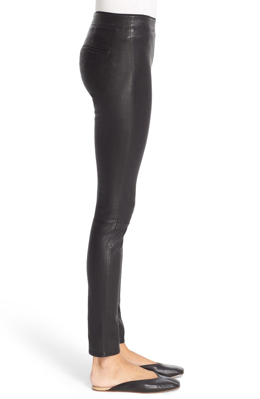 HELMUT LANG, Stretch Lambskin Leather Leggings, Alternate thumbnail 11, color, BLACK