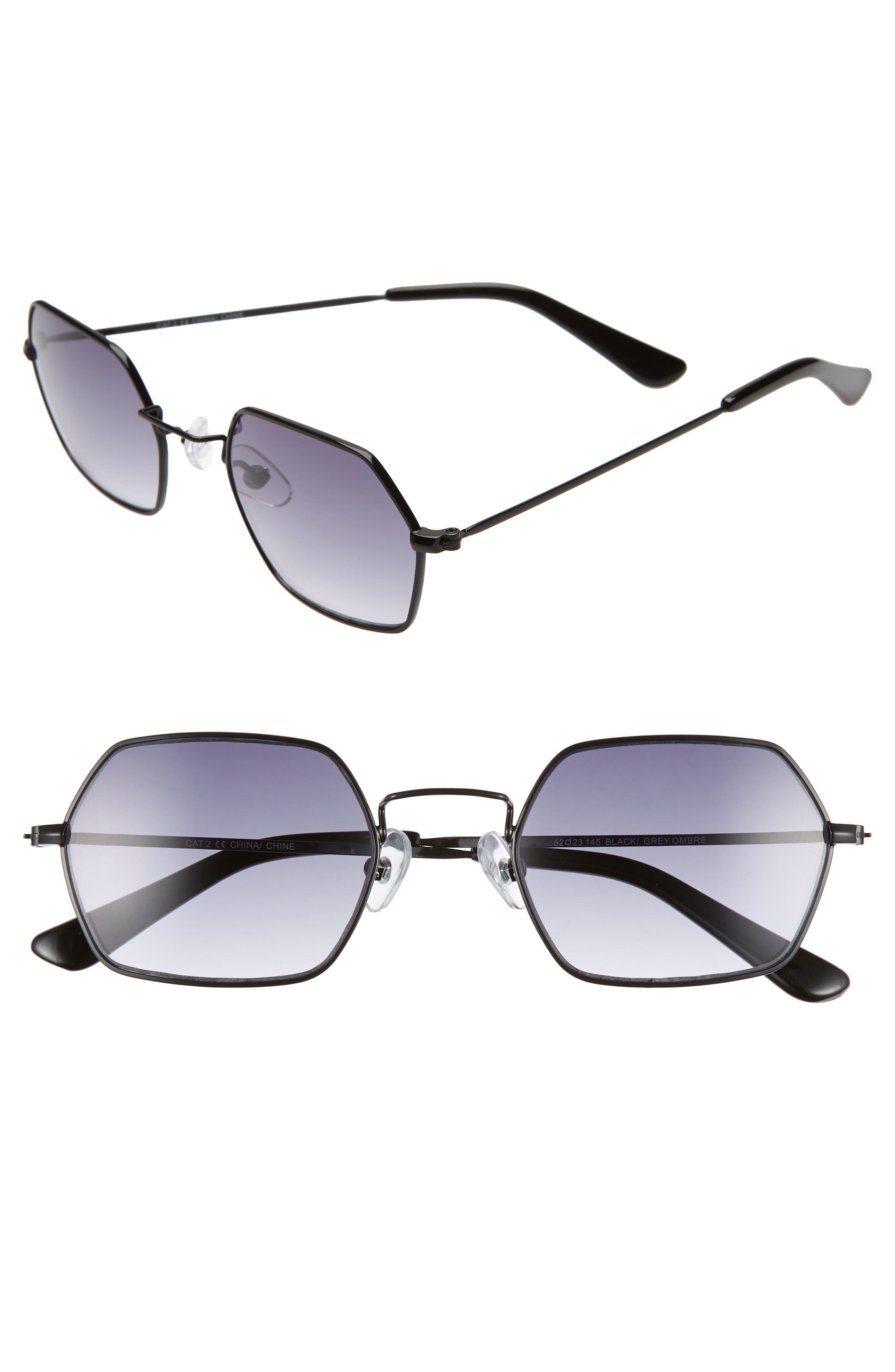 THE RAIL Russo 52mm Hexagon Sunglasses, Main, color, BLACK/ GREY OMBRE
