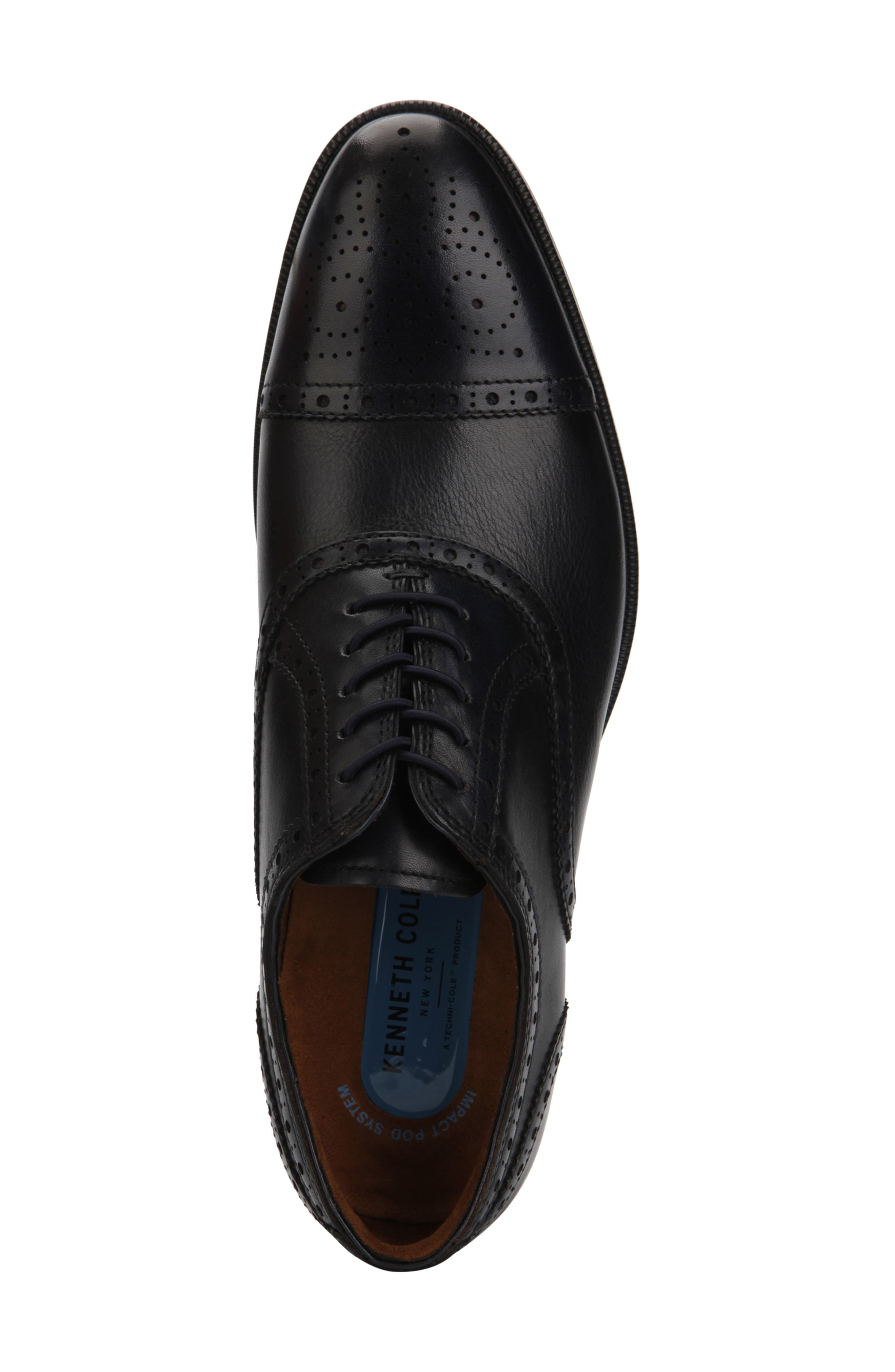 KENNETH COLE NEW YORK, Futurepod Cap Toe Oxford, Alternate thumbnail 3, color, NAVY TUMBLED LEATHER